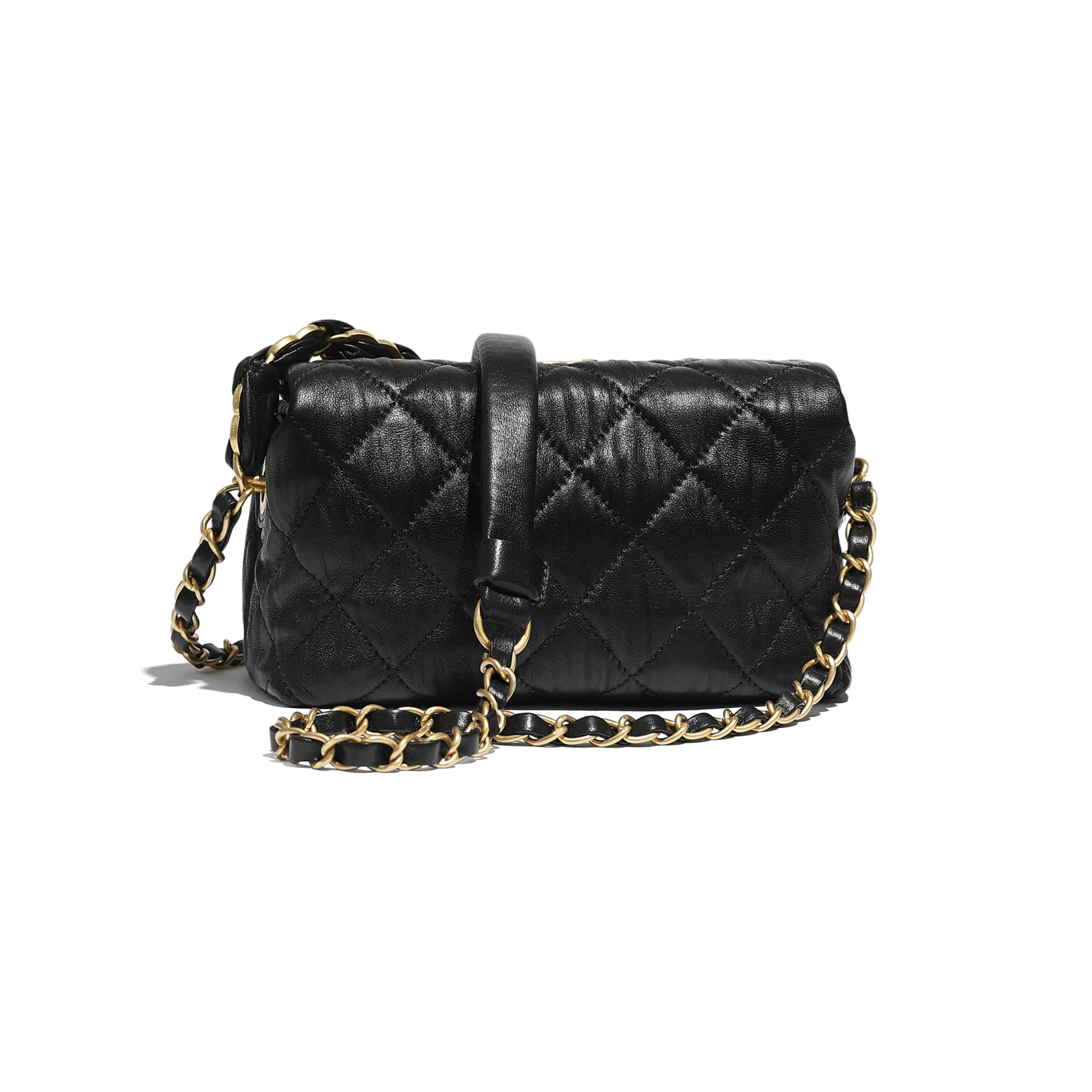 Small Hobo Bag - Black - Crumpled Lambskin & Gold-Tone Metal - CHANEL - Alternative view - see standard sized version
