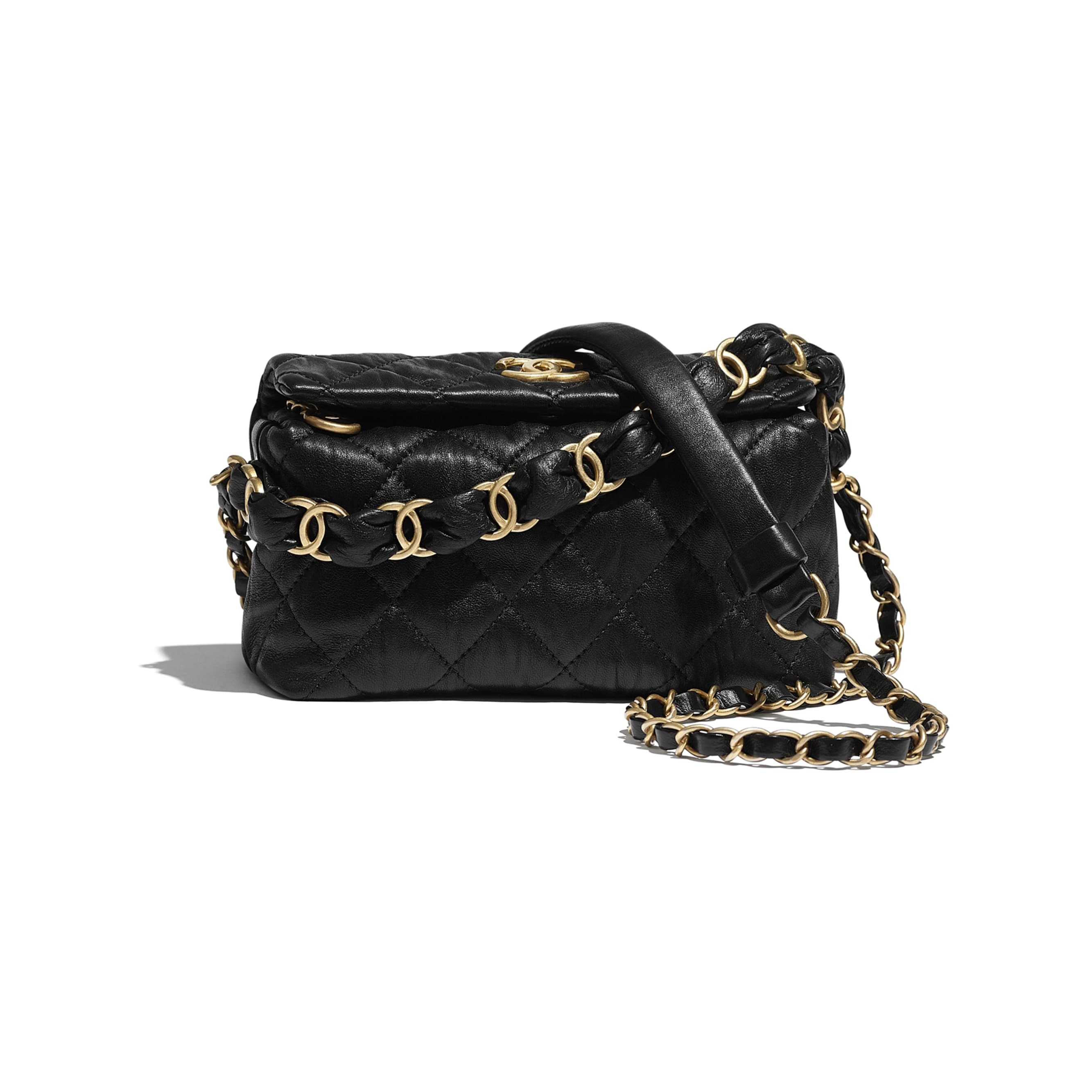 Small Hobo Bag - Black - Crumpled Lambskin & Gold-Tone Metal - CHANEL - Default view - see standard sized version