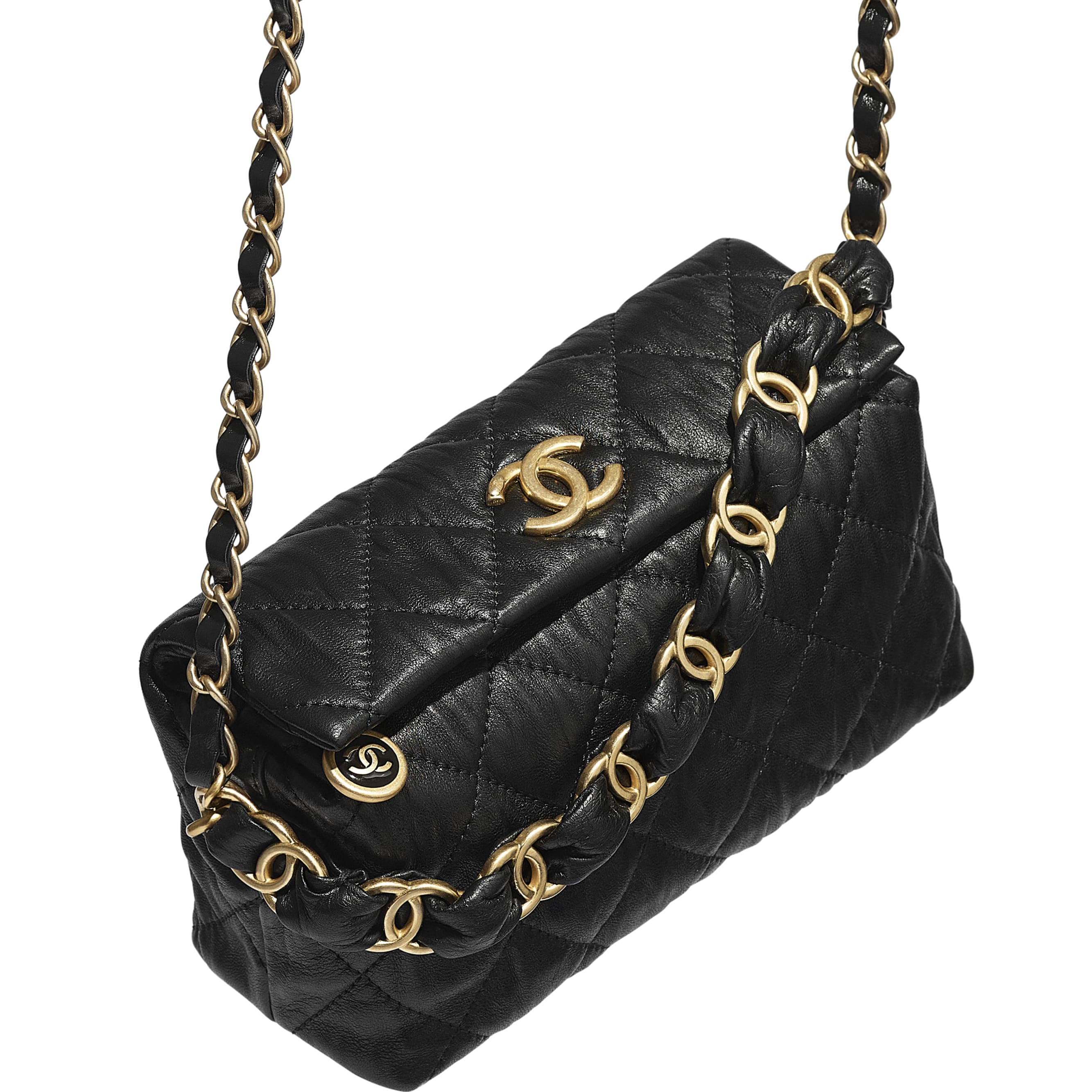Small Hobo Bag - Black - Crumpled Lambskin & Gold-Tone Metal - CHANEL - Extra view - see standard sized version