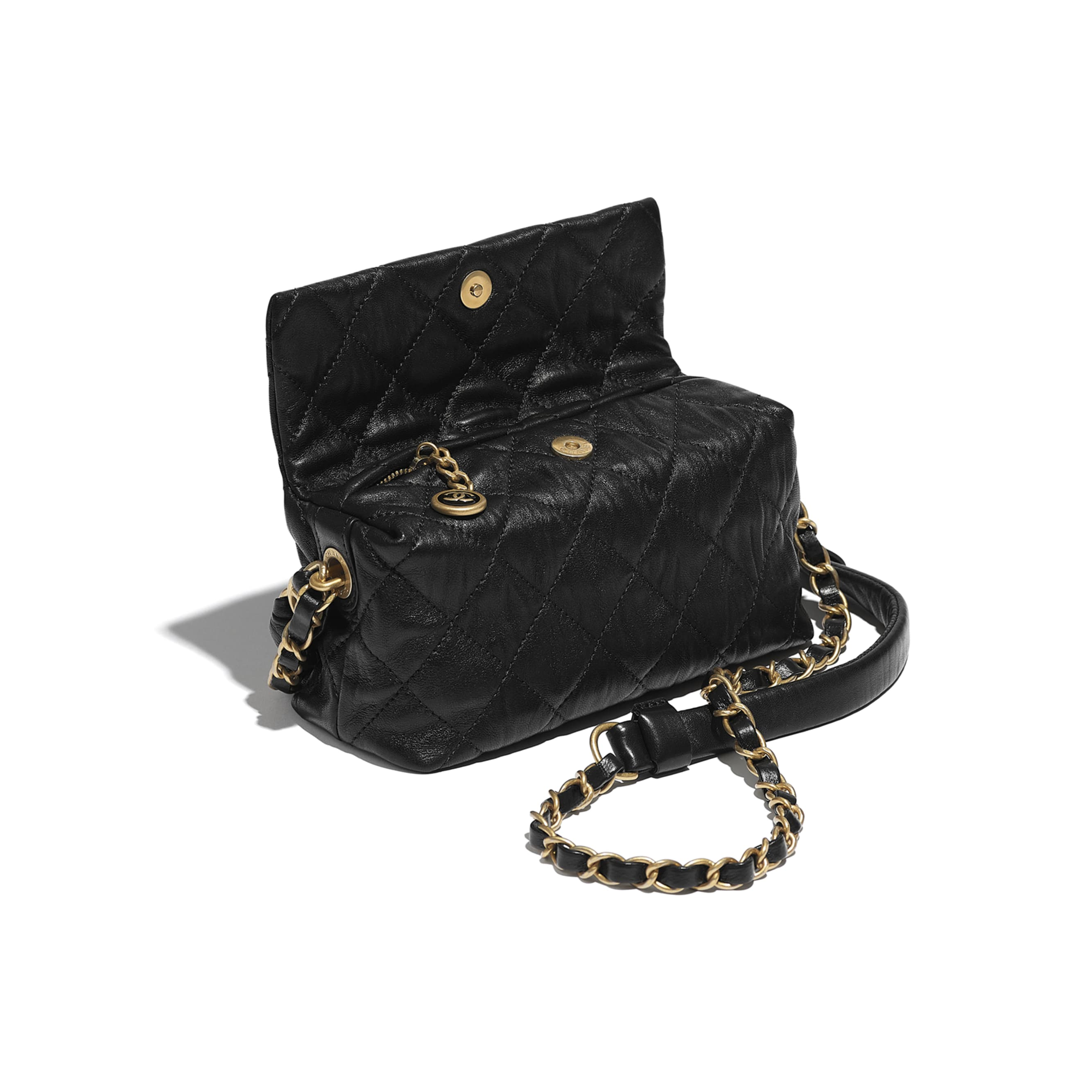 Small Hobo Bag - Black - Crumpled Lambskin & Gold-Tone Metal - CHANEL - Other view - see standard sized version