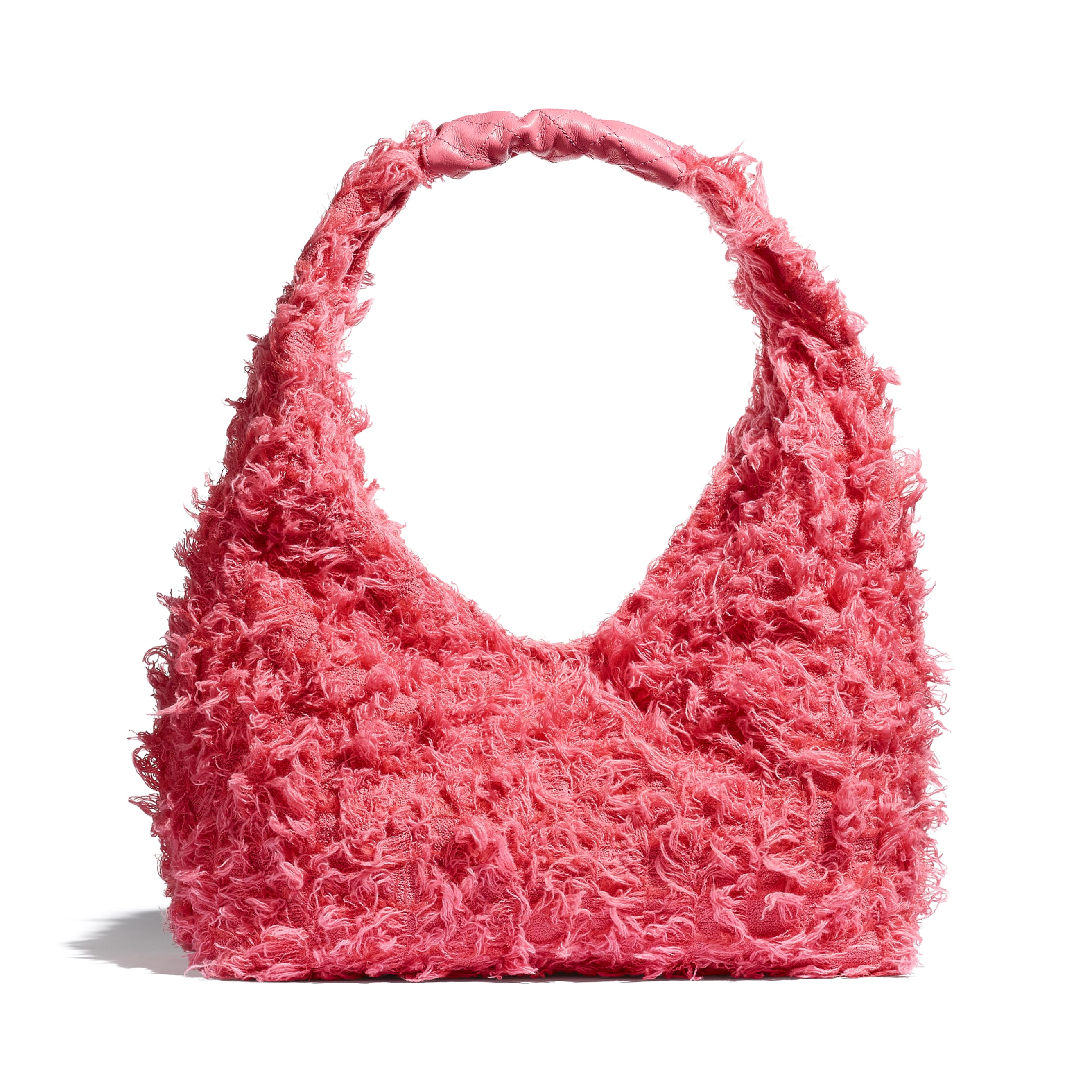 Small Hobo Bag - Coral - Tweed, Calfskin & Gold-Tone Metal - CHANEL - Alternative view - see standard sized version