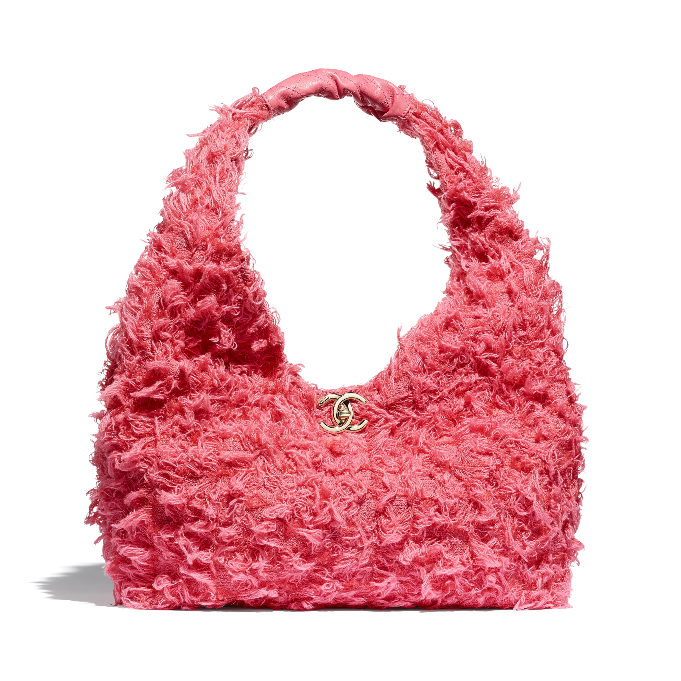 Small Hobo Bag - Coral - Tweed, Calfskin & Gold-Tone Metal - CHANEL - Default view - see standard sized version