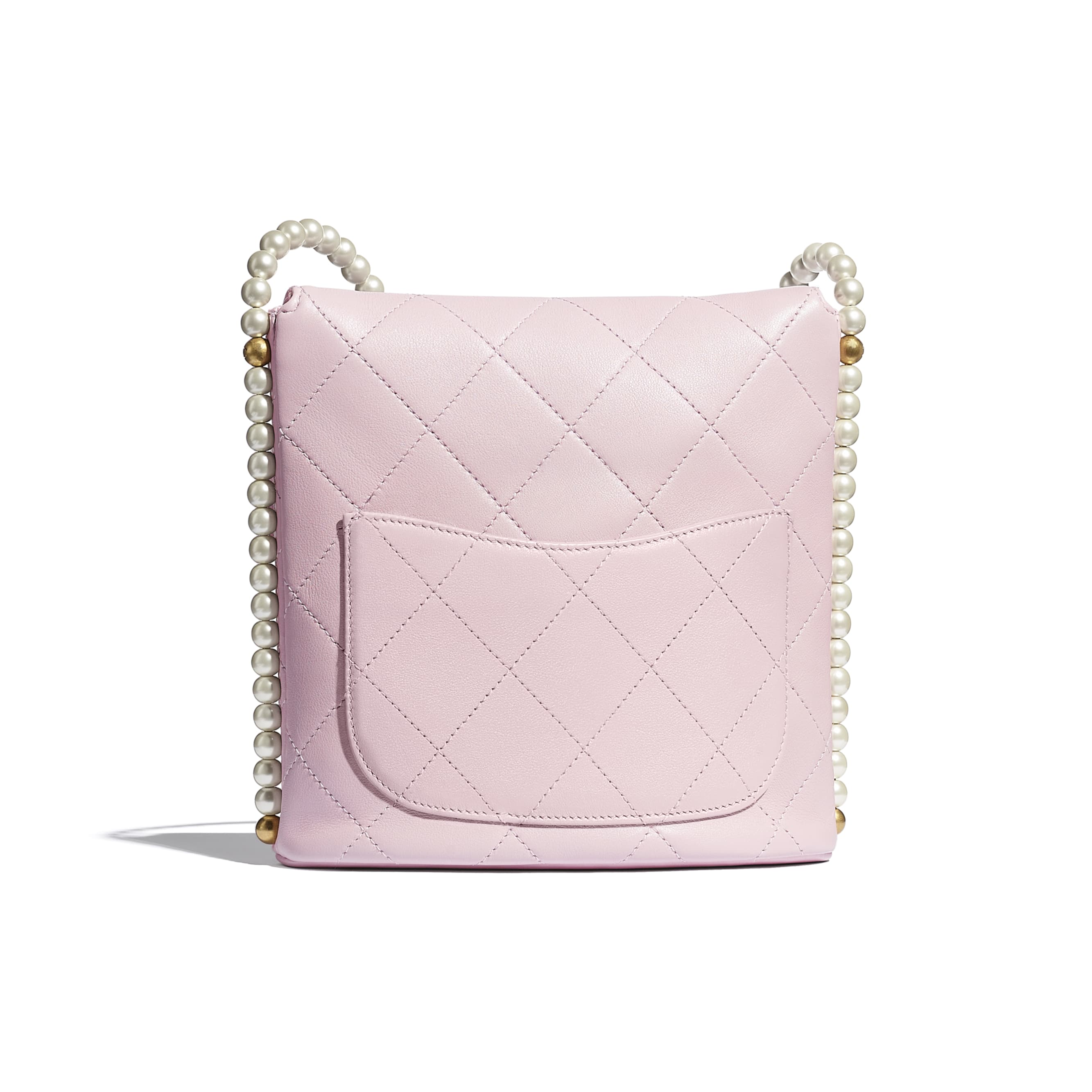 Small Hobo Bag - Light Pink - Calfskin, Imitation Pearls & Gold-Tone Metal - CHANEL - Alternative view - see standard sized version