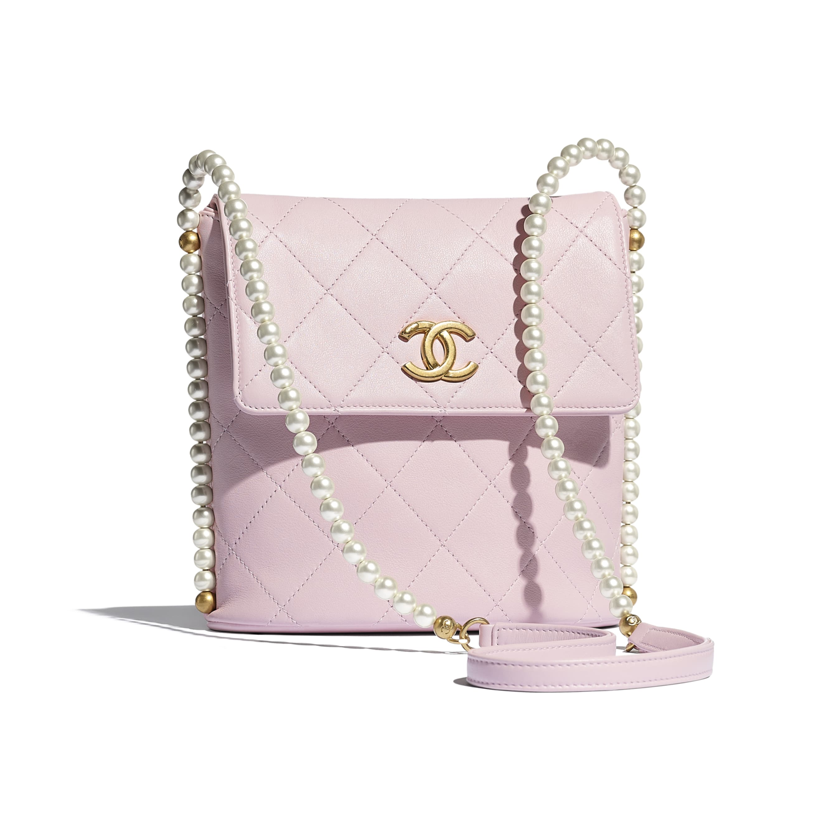 Small Hobo Bag - Light Pink - Calfskin, Imitation Pearls & Gold-Tone Metal - CHANEL - Default view - see standard sized version