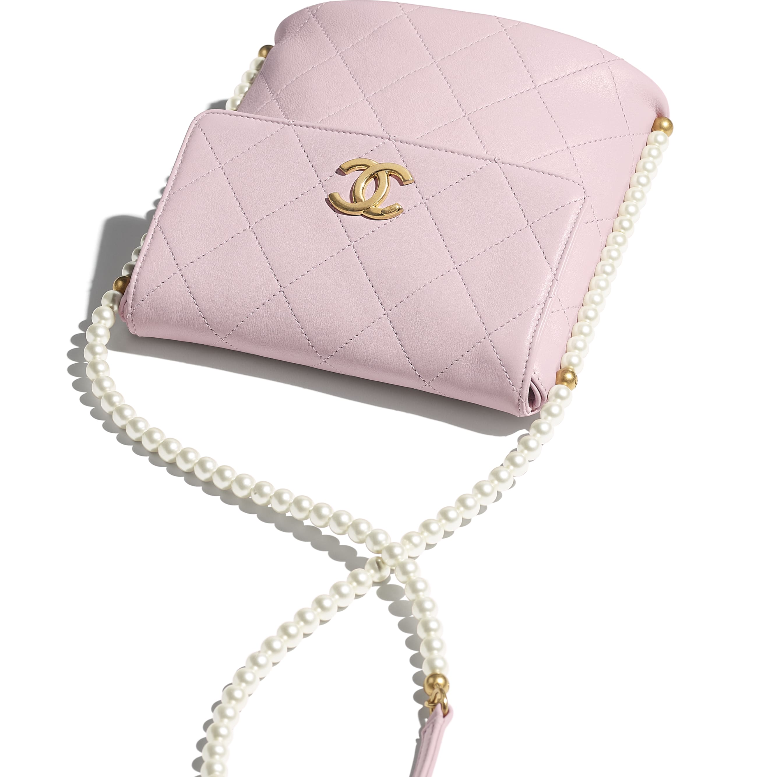 Small Hobo Bag - Light Pink - Calfskin, Imitation Pearls & Gold-Tone Metal - CHANEL - Extra view - see standard sized version