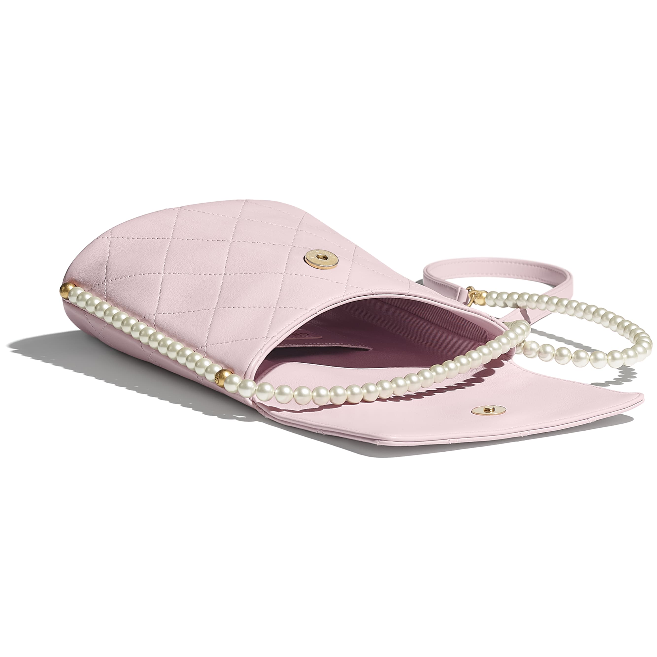 Small Hobo Bag - Light Pink - Calfskin, Imitation Pearls & Gold-Tone Metal - CHANEL - Other view - see standard sized version