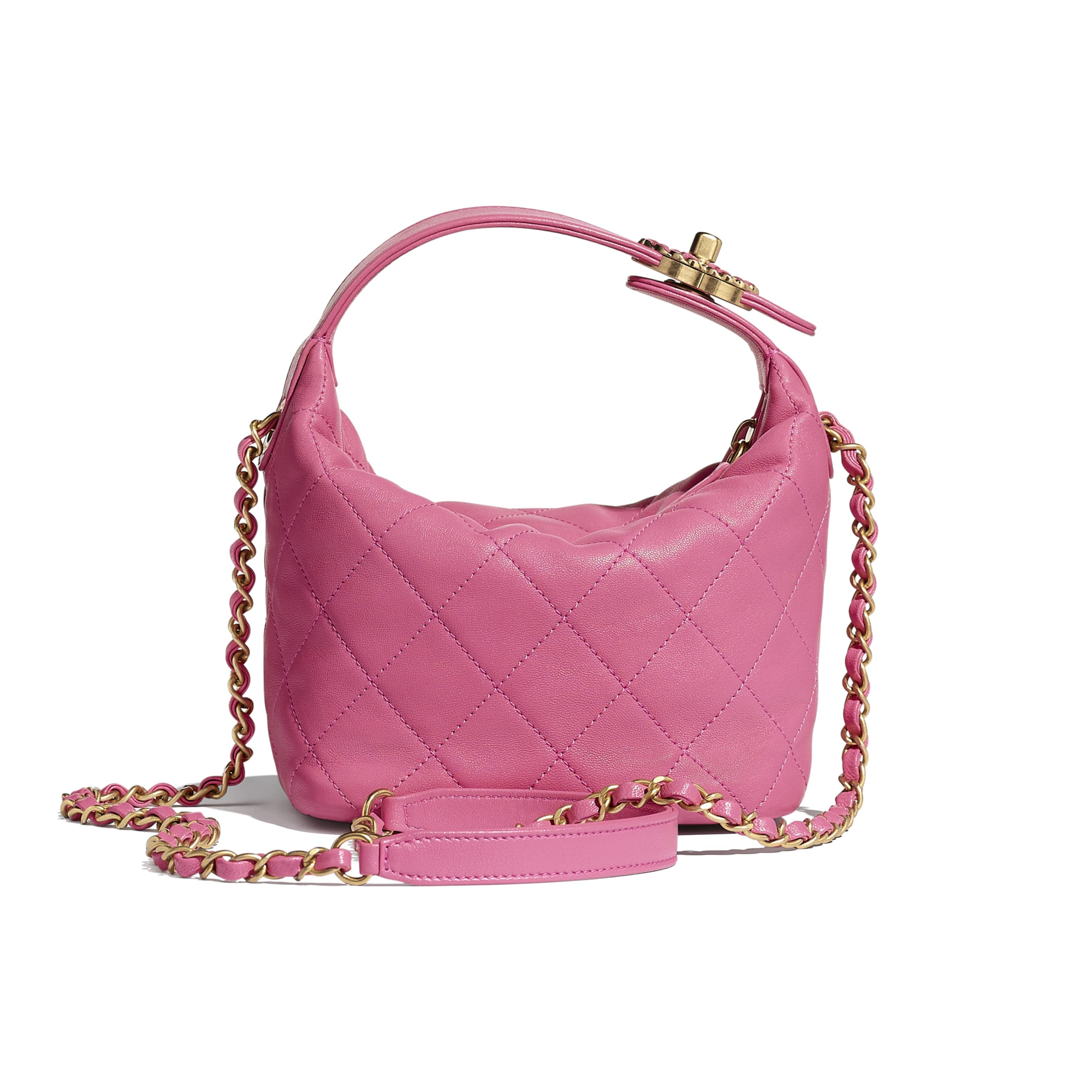 Small Hobo Bag - Pink - Lambskin & Gold Metal  - Alternative view - see standard sized version