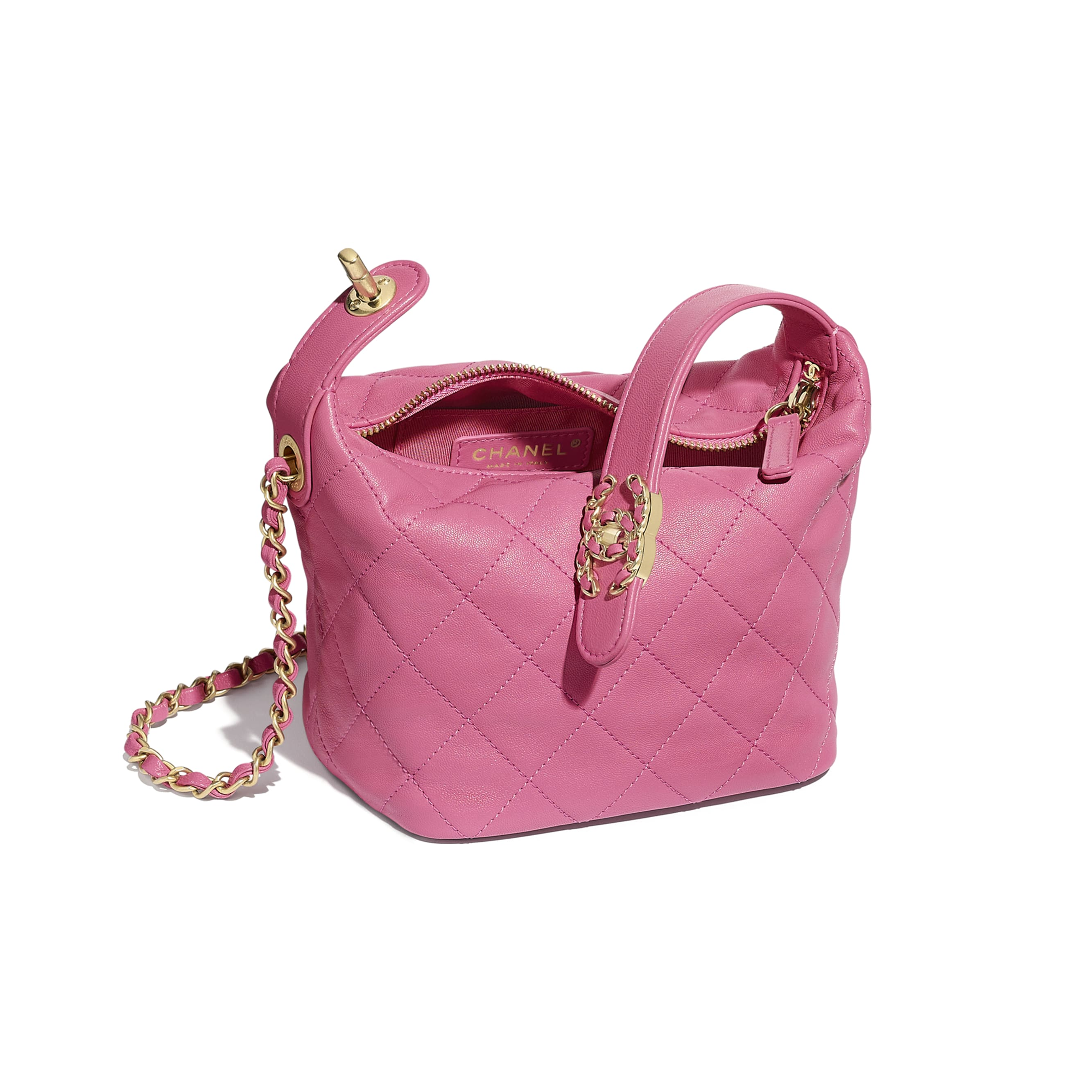 Small Hobo Bag - Pink - Lambskin & Gold Metal  - Other view - see standard sized version