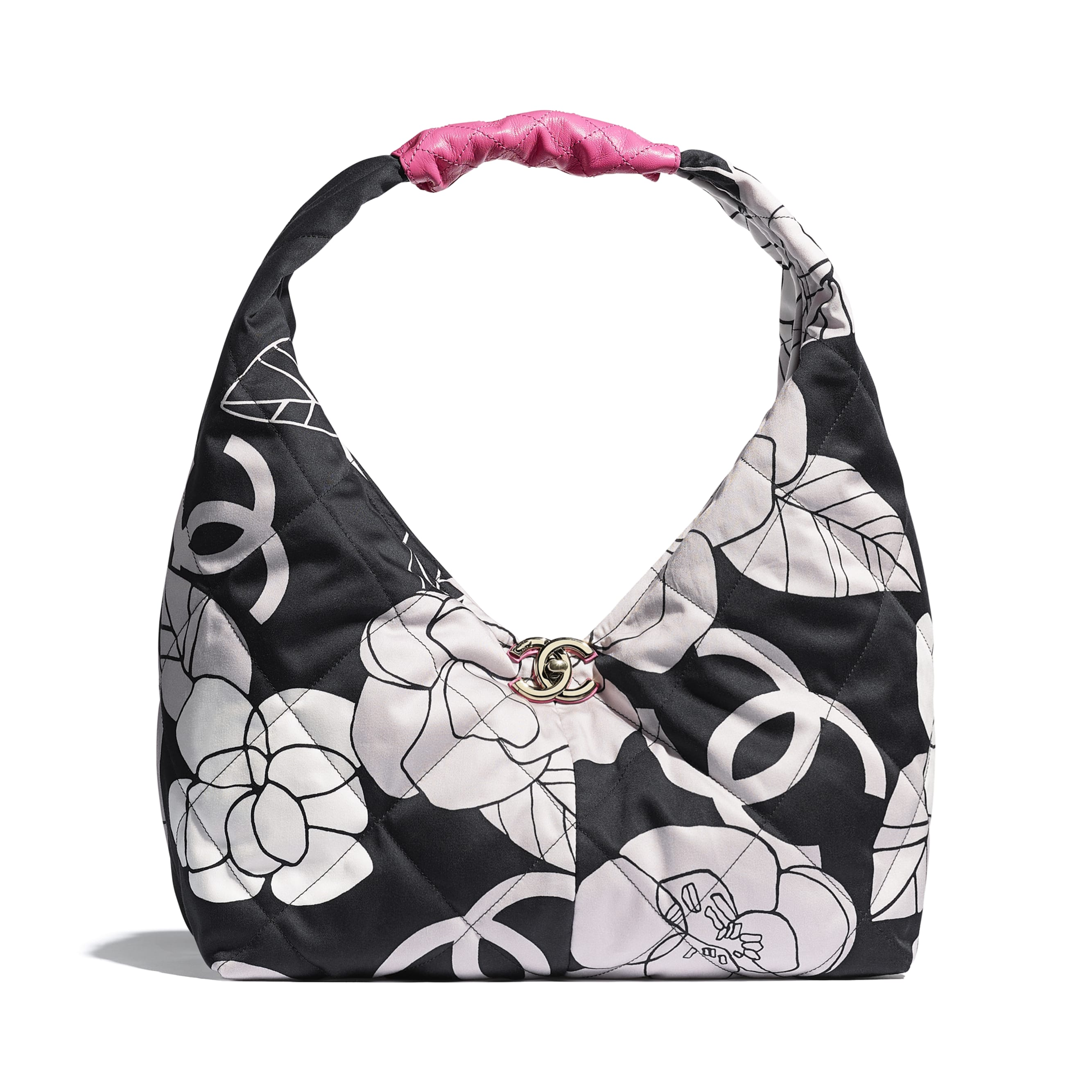 Small Hobo Bag - White, Black & Pink - Cotton Canvas, Calfskin & Gold-Tone Metal - CHANEL - Default view - see standard sized version