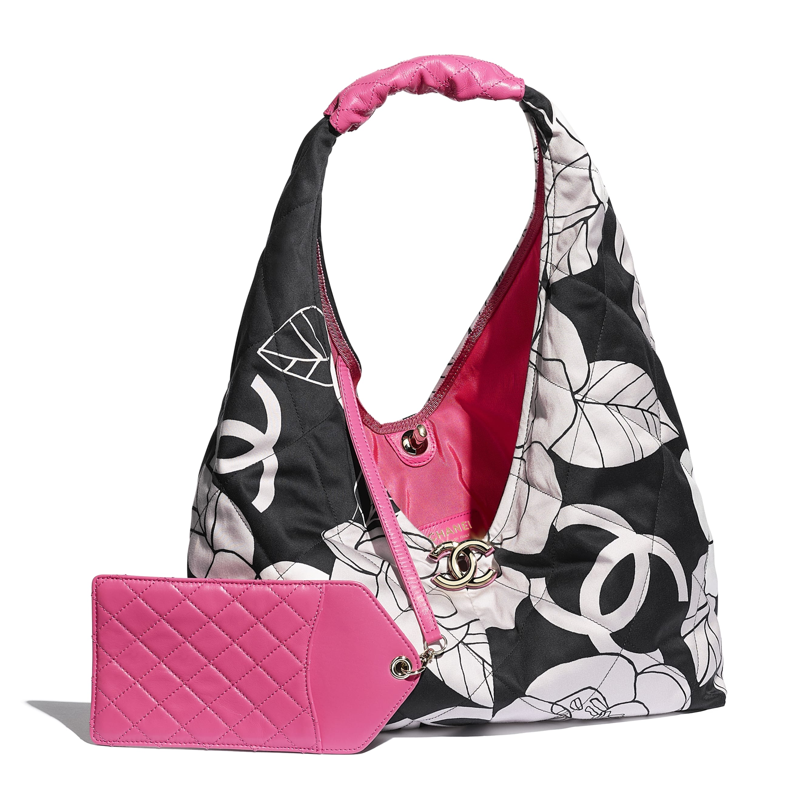 Small Hobo Bag - White, Black & Pink - Cotton Canvas, Calfskin & Gold-Tone Metal - CHANEL - Other view - see standard sized version