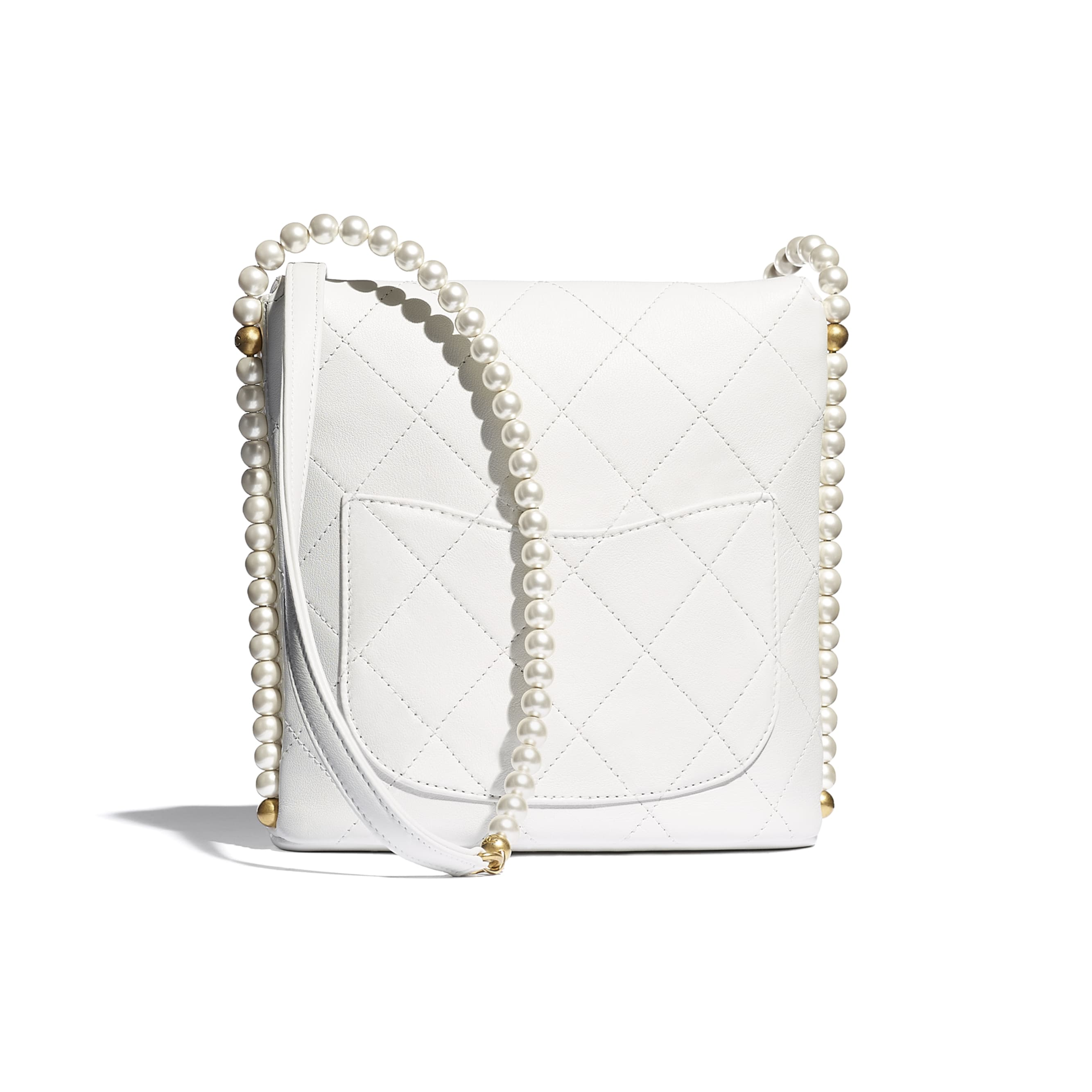Small Hobo Bag - White - Calfskin, Imitation Pearls & Gold-Tone Metal - CHANEL - Alternative view - see standard sized version