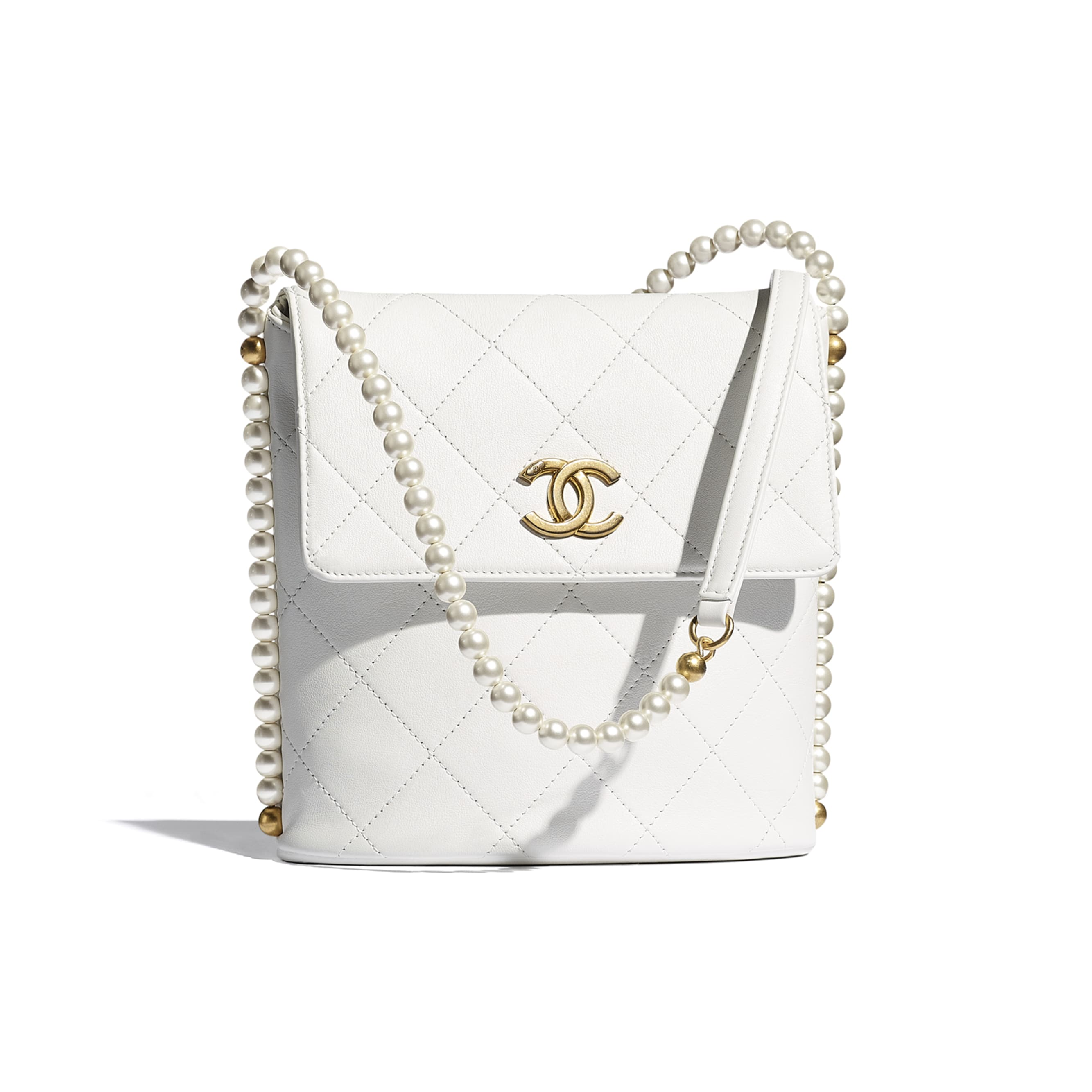 Small Hobo Bag - White - Calfskin, Imitation Pearls & Gold-Tone Metal - CHANEL - Default view - see standard sized version