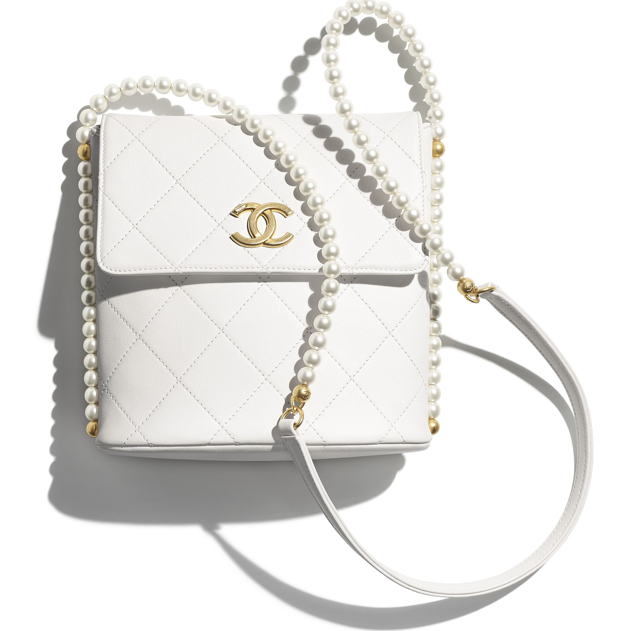 Small Hobo Bag - White - Calfskin, Imitation Pearls & Gold-Tone Metal - CHANEL - Extra view - see standard sized version