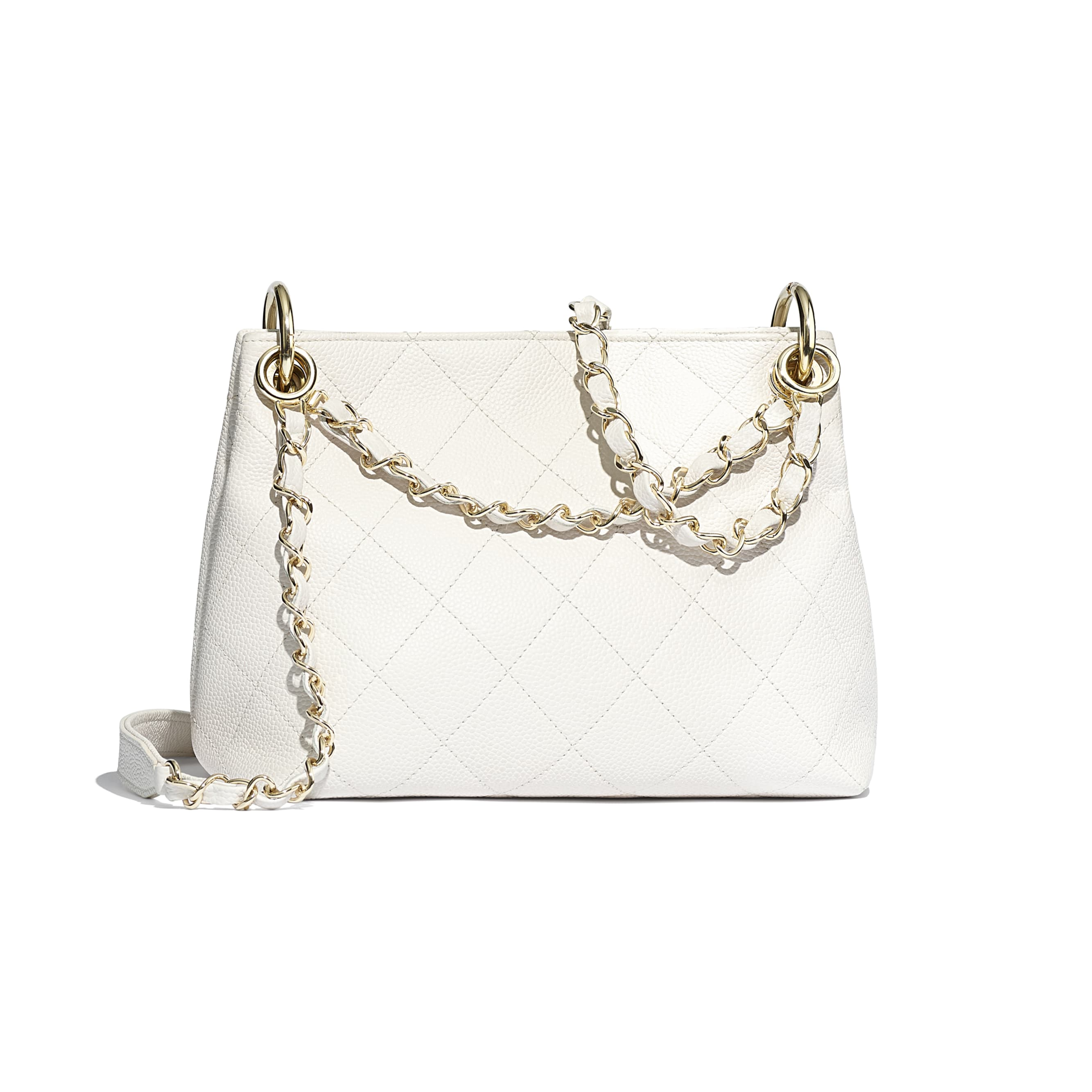 Small Hobo Bag - White - Grained Calfskin & Gold-Tone Metal - CHANEL - Alternative view - see standard sized version