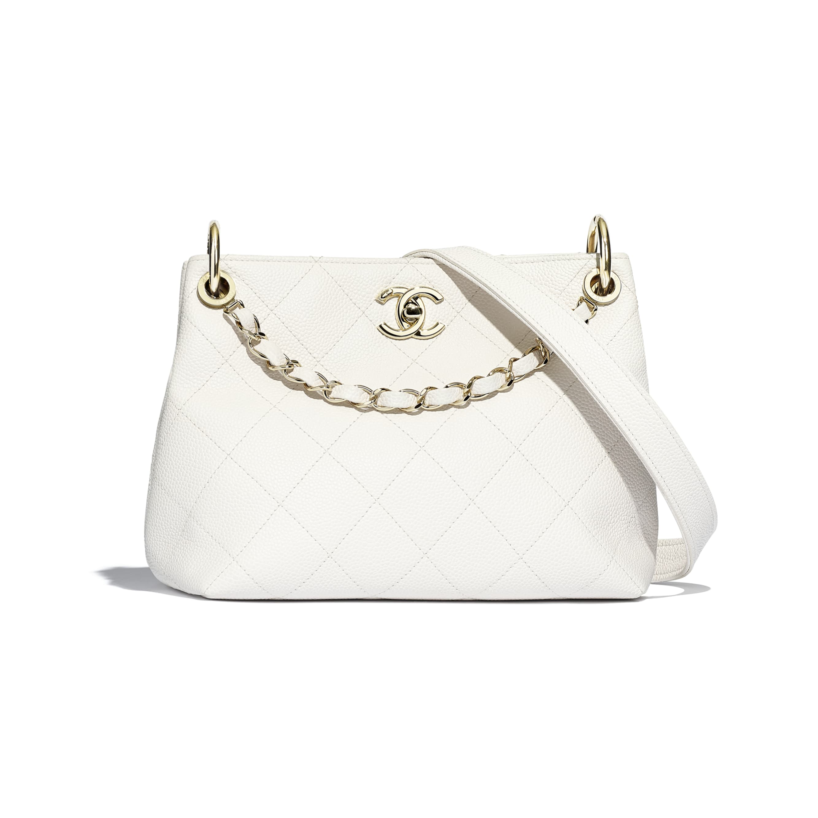 Small Hobo Bag - White - Grained Calfskin & Gold-Tone Metal - CHANEL - Default view - see standard sized version