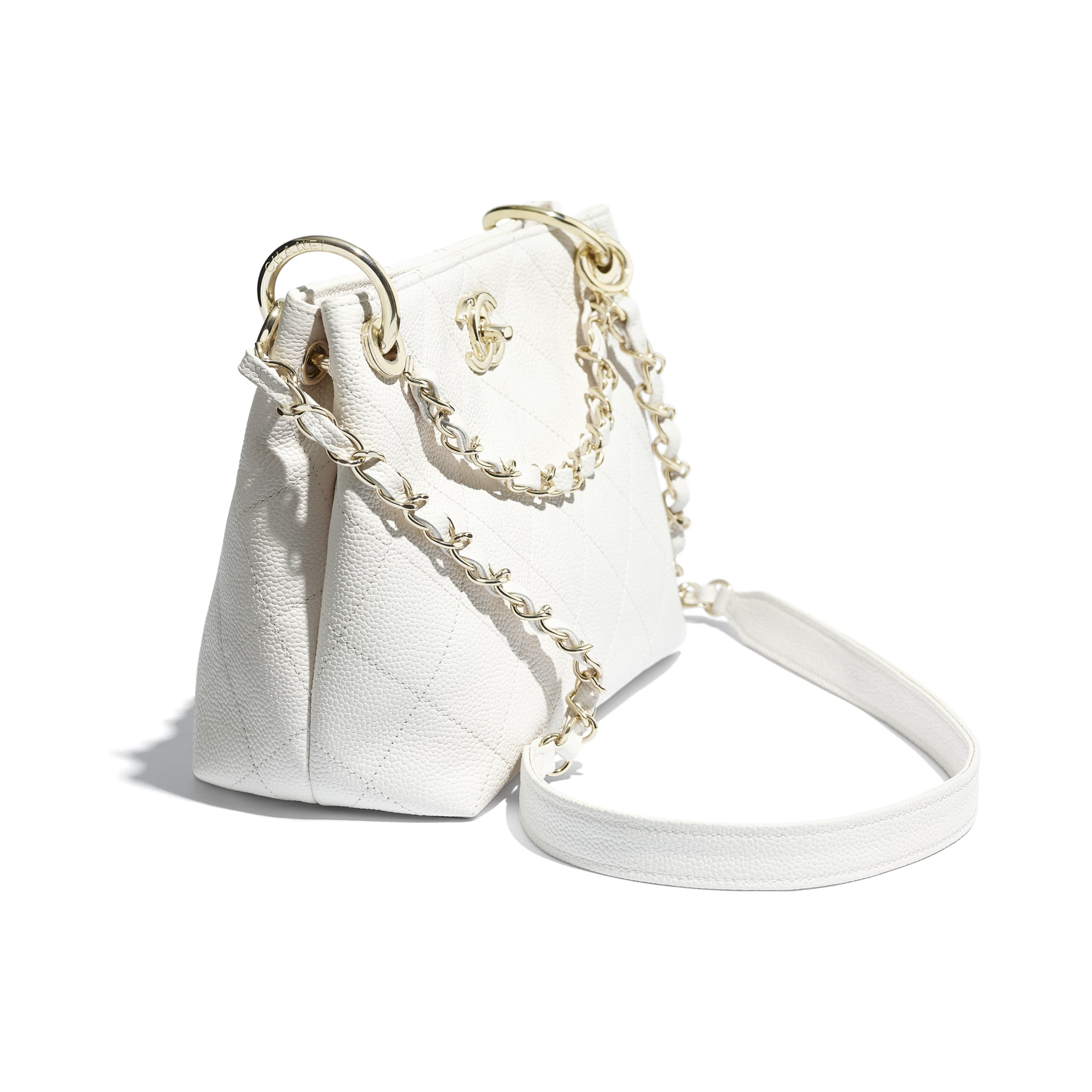 Small Hobo Bag - White - Grained Calfskin & Gold-Tone Metal - CHANEL - Extra view - see standard sized version