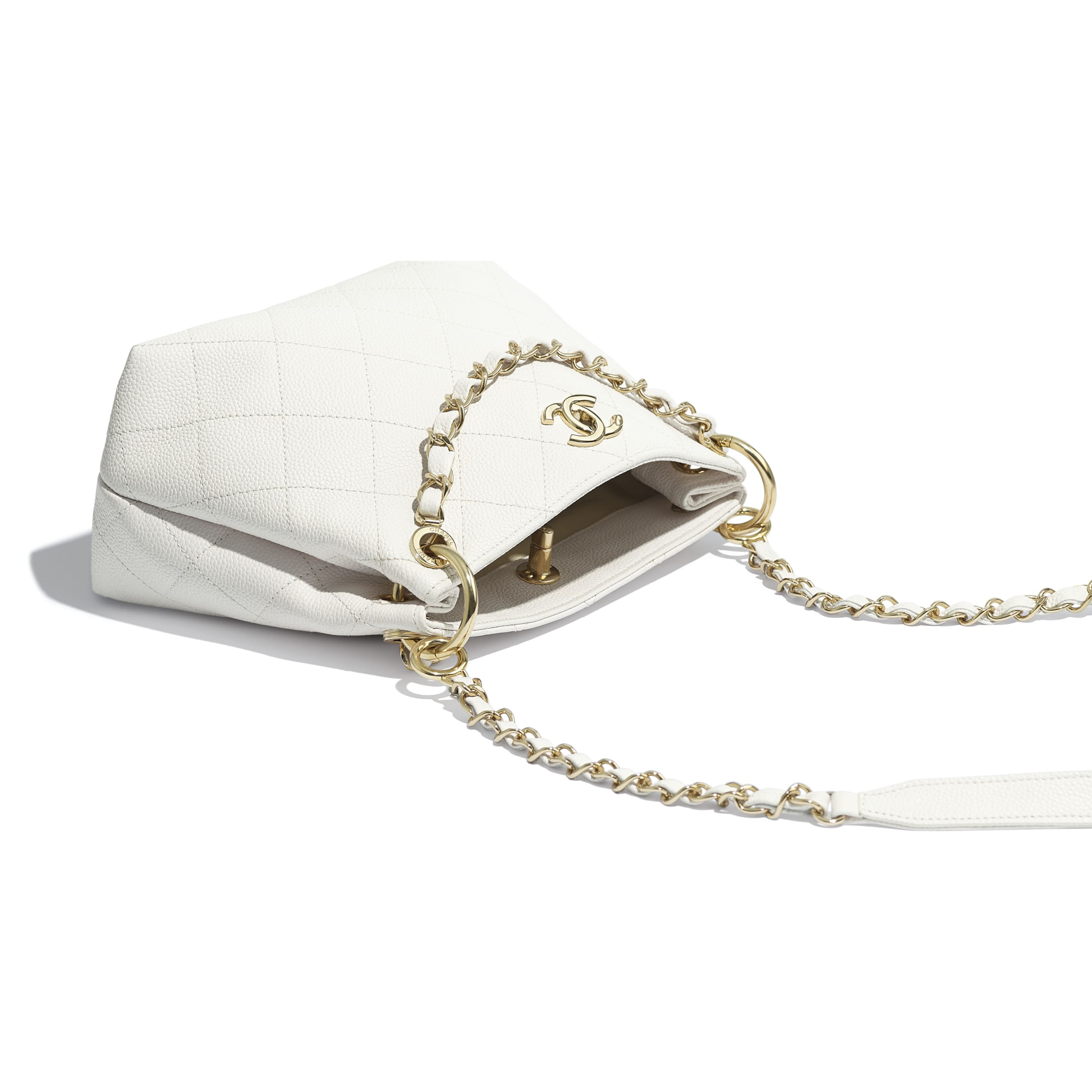 Small Hobo Bag - White - Grained Calfskin & Gold-Tone Metal - CHANEL - Other view - see standard sized version