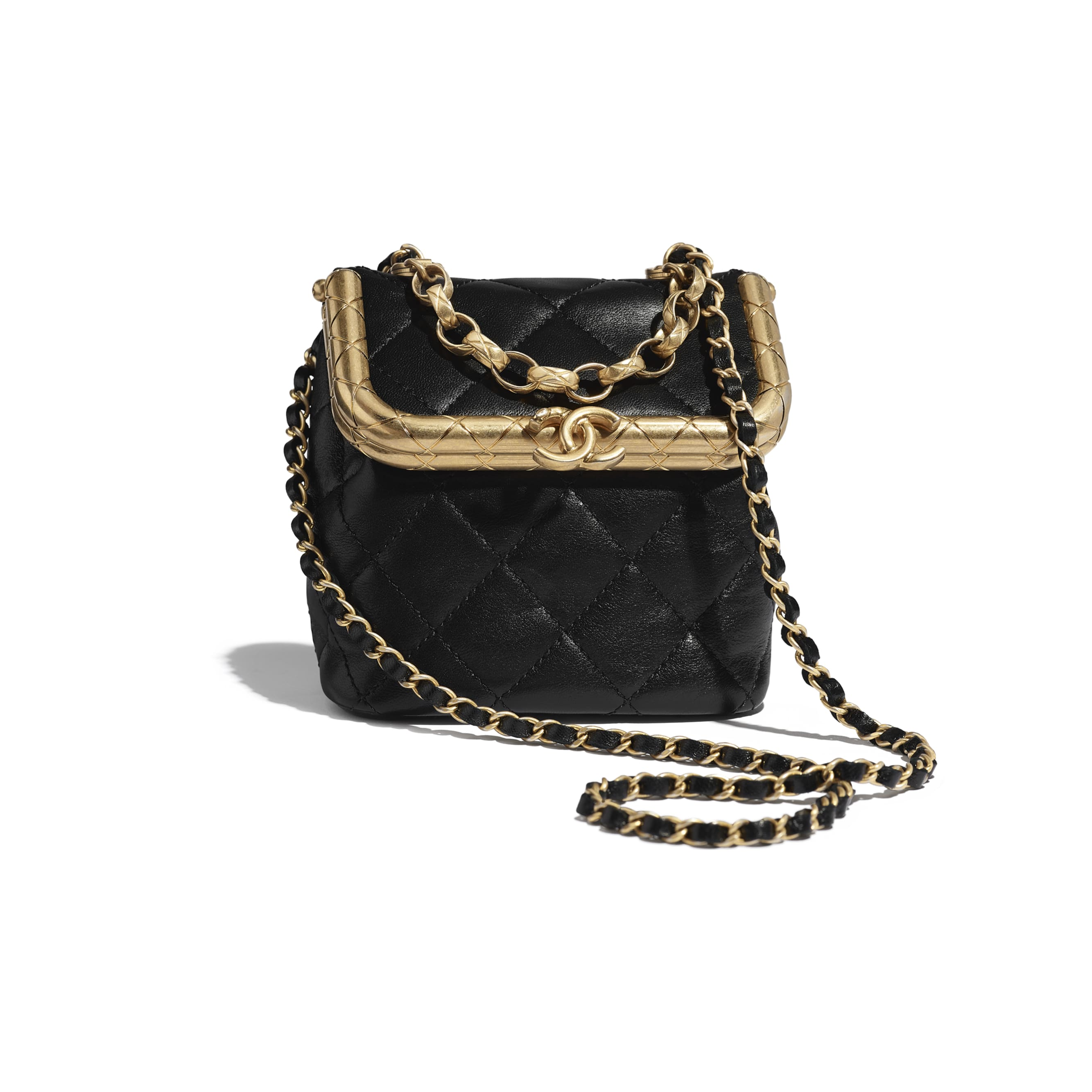 Small Kiss-Lock Bag - Black - Lambskin - CHANEL - Default view - see standard sized version