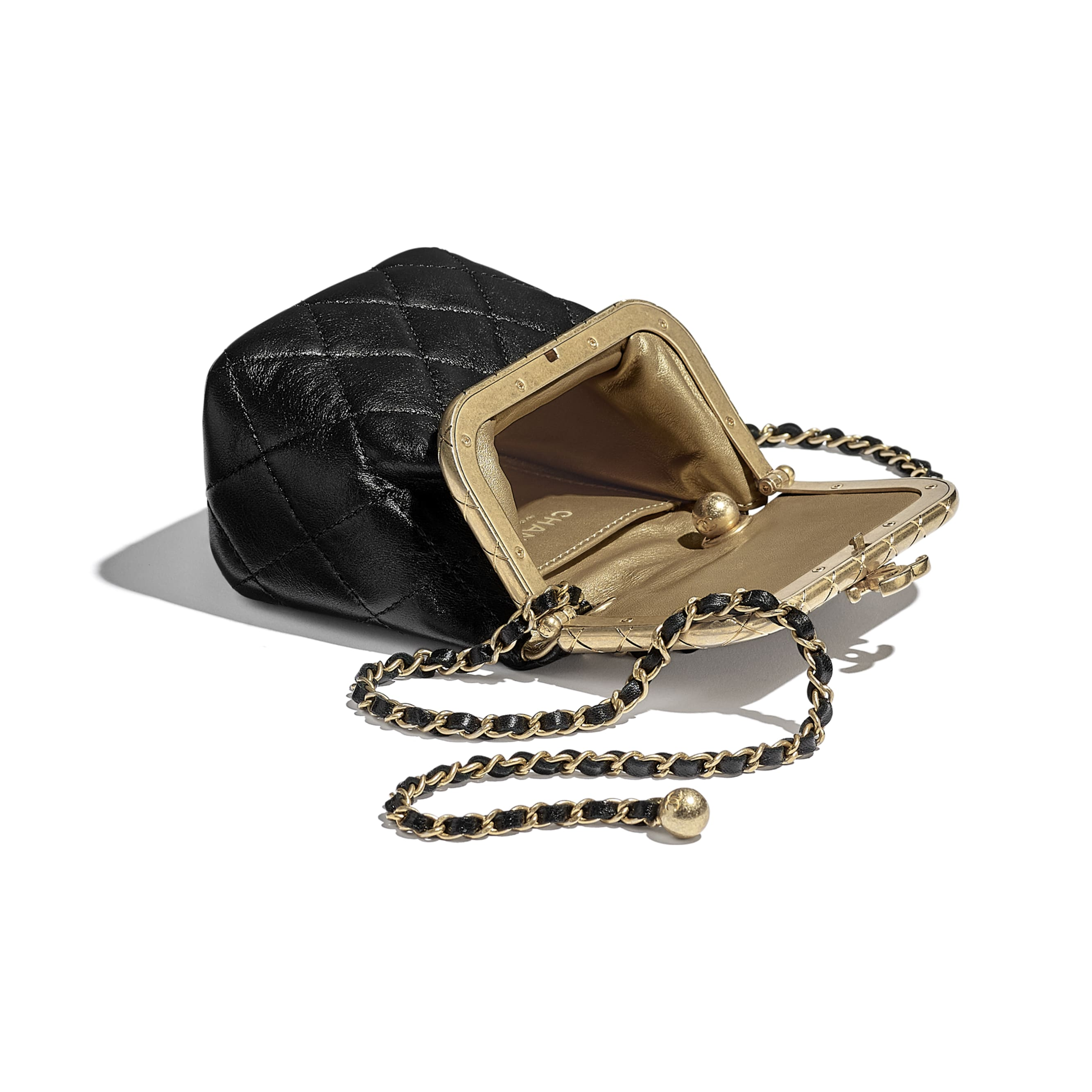 Small Kiss-Lock Bag - Black - Lambskin - CHANEL - Other view - see standard sized version