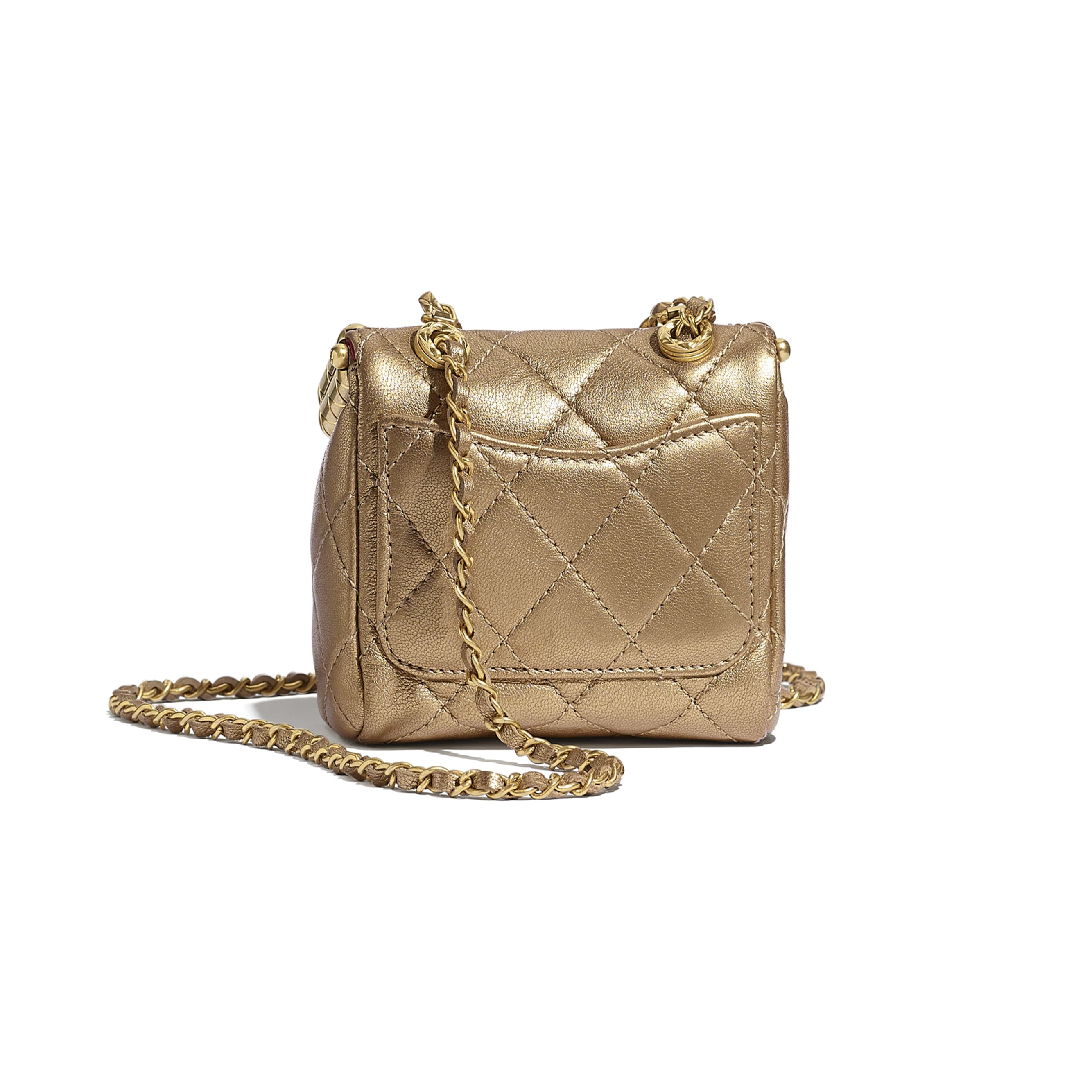 Small Kiss-Lock Bag - Gold - Metallic Lambskin & Gold Metal - CHANEL - Alternative view - see standard sized version