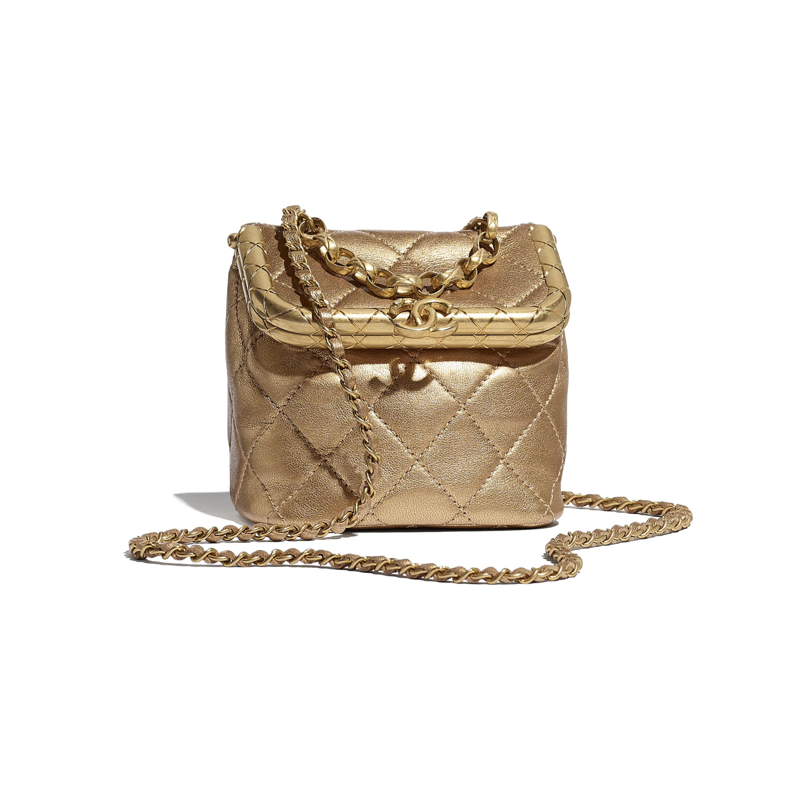 Small Kiss-Lock Bag - Gold - Metallic Lambskin & Gold Metal - CHANEL - Default view - see standard sized version