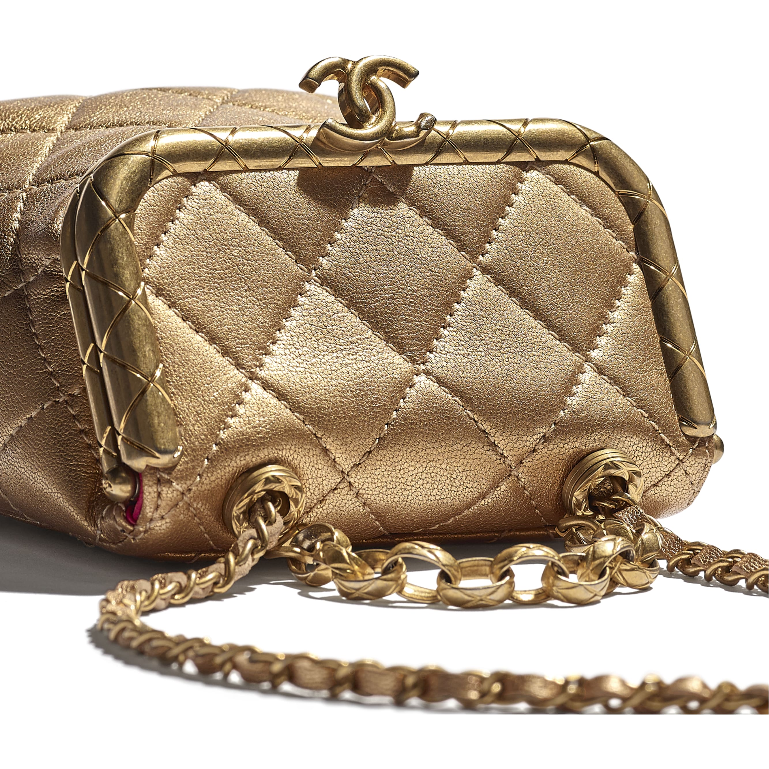 Small Kiss-Lock Bag - Gold - Metallic Lambskin & Gold Metal - CHANEL - Extra view - see standard sized version