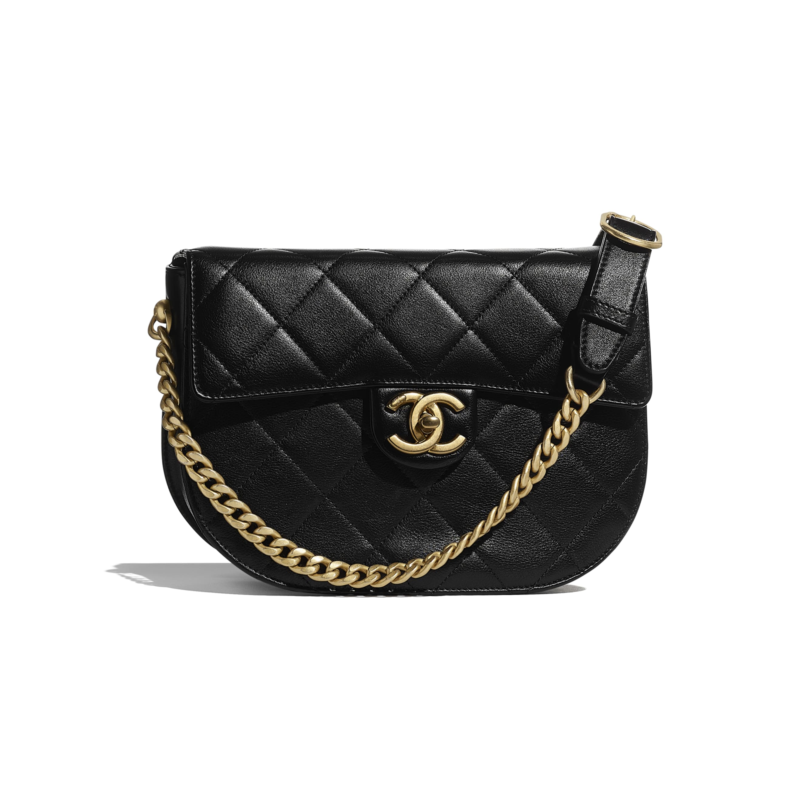 Small Messenger Bag - Black - Calfskin & Gold-Tone Metal - CHANEL - Default view - see standard sized version