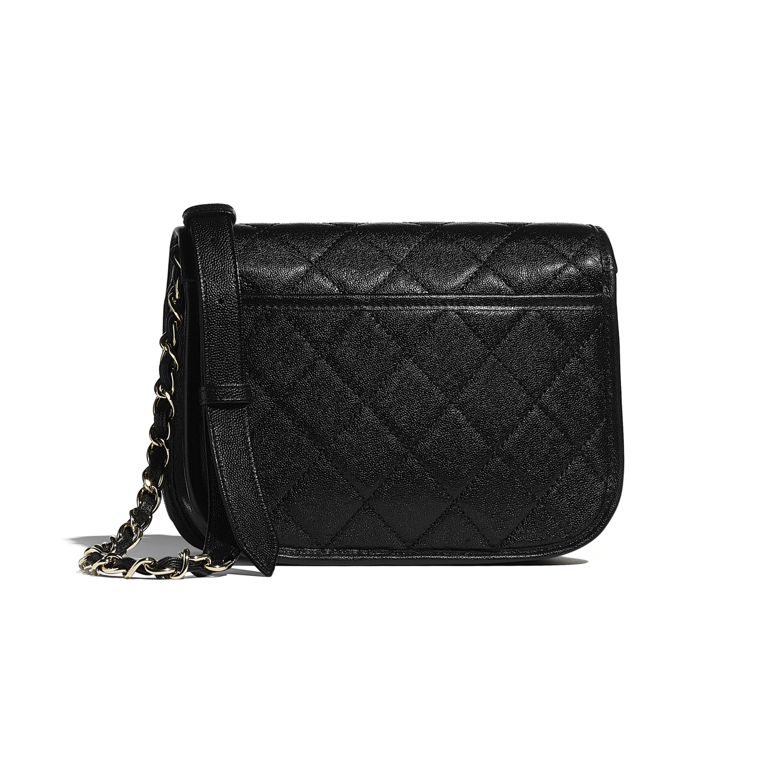 Small Messenger Bag - Black - Grained Calfskin & Gold-Tone Metal - CHANEL - Alternative view - see standard sized version