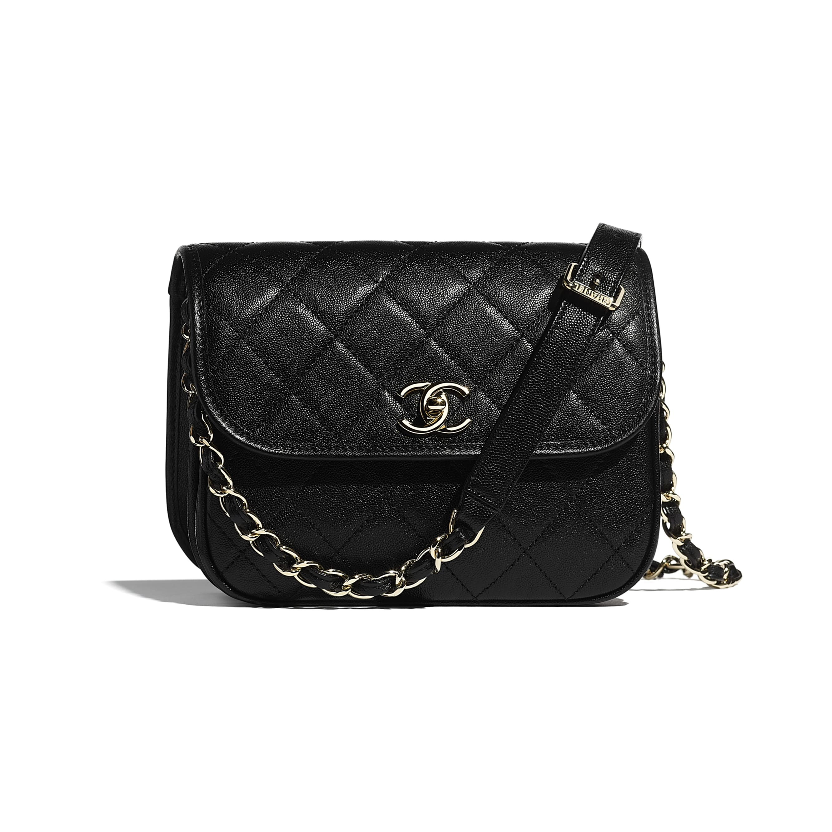 Small Messenger Bag - Black - Grained Calfskin & Gold-Tone Metal - CHANEL - Default view - see standard sized version