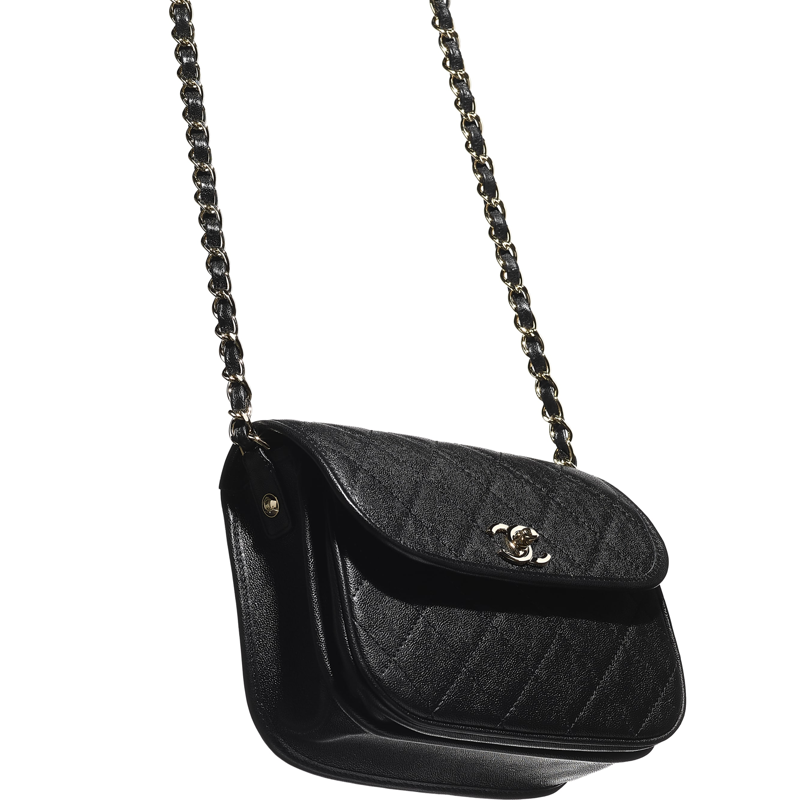 Small Messenger Bag - Black - Grained Calfskin & Gold-Tone Metal - CHANEL - Extra view - see standard sized version