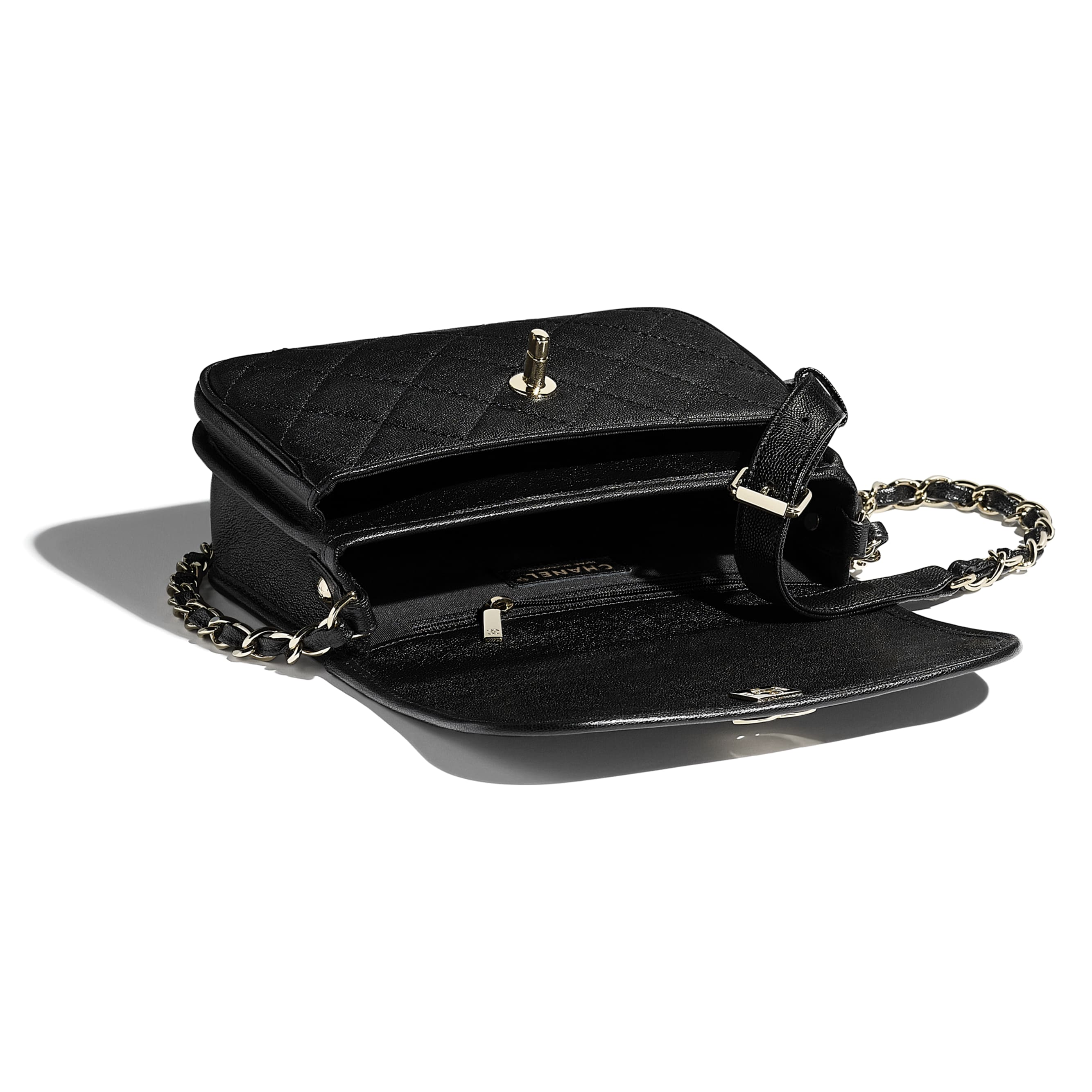 Small Messenger Bag - Black - Grained Calfskin & Gold-Tone Metal - CHANEL - Other view - see standard sized version