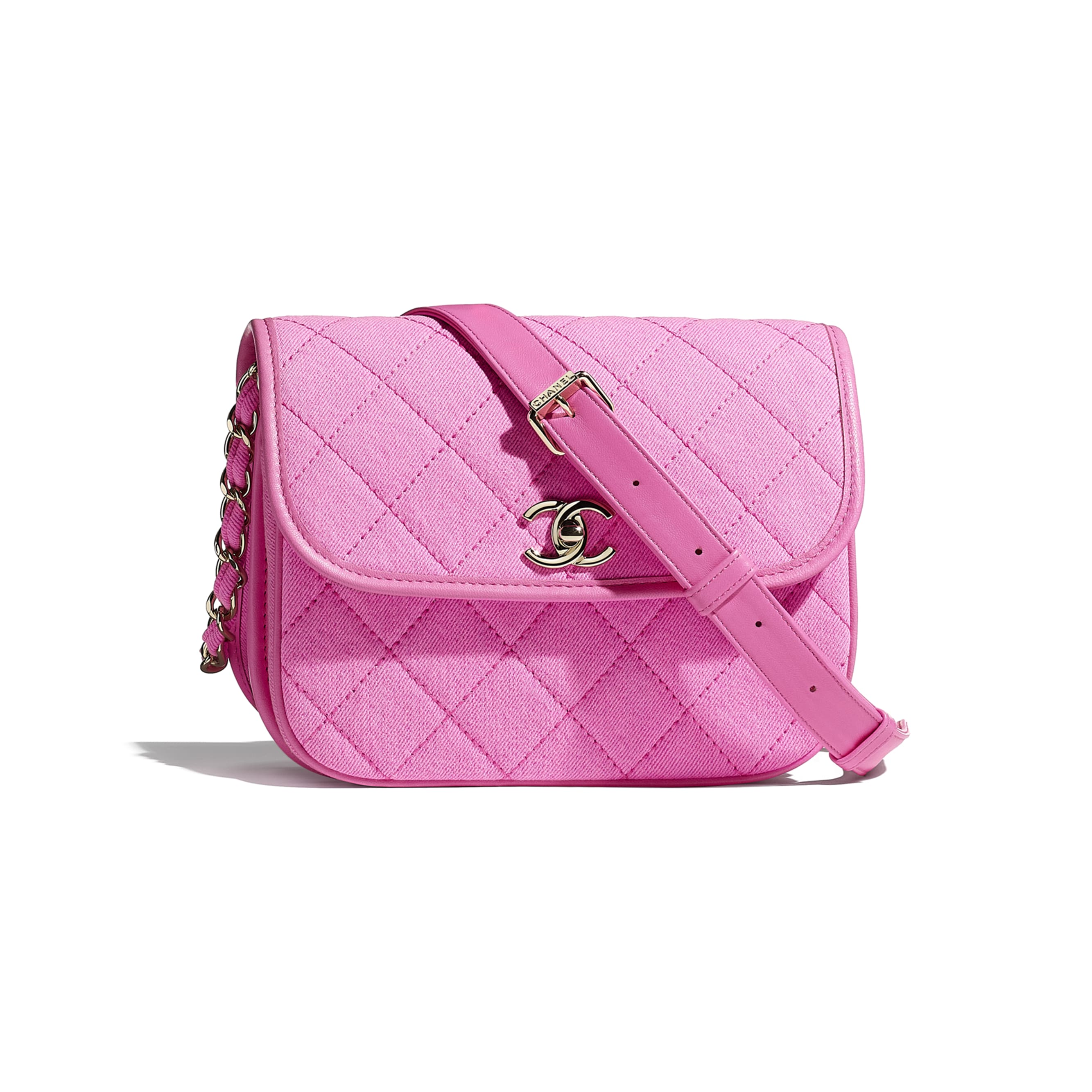 Small Messenger Bag - Neon Pink - Denim & Gold Metal - CHANEL - Default view - see standard sized version