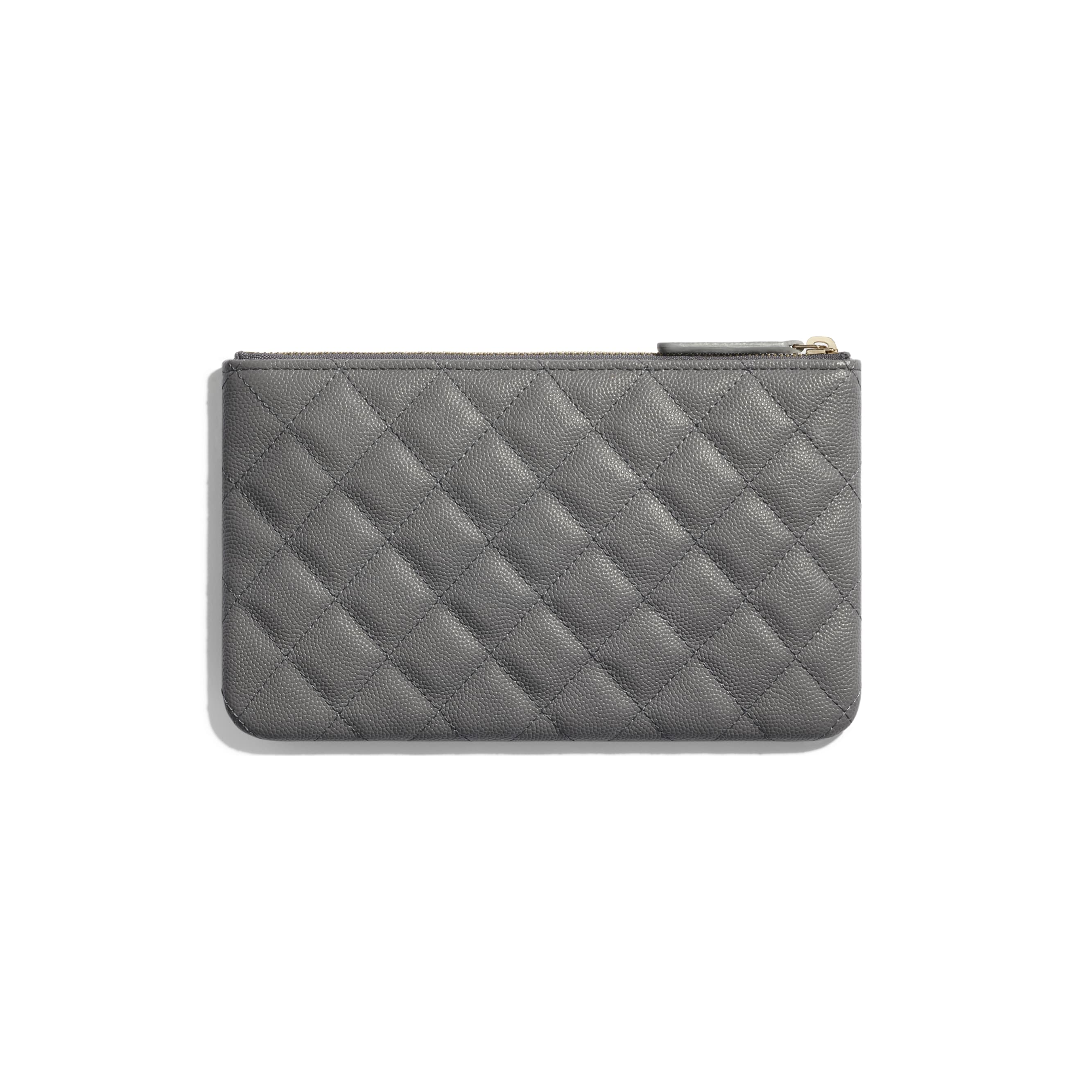 Small Pouch - Grey - Grained Calfskin & Gold-Tone Metal - CHANEL - Alternative view - see standard sized version