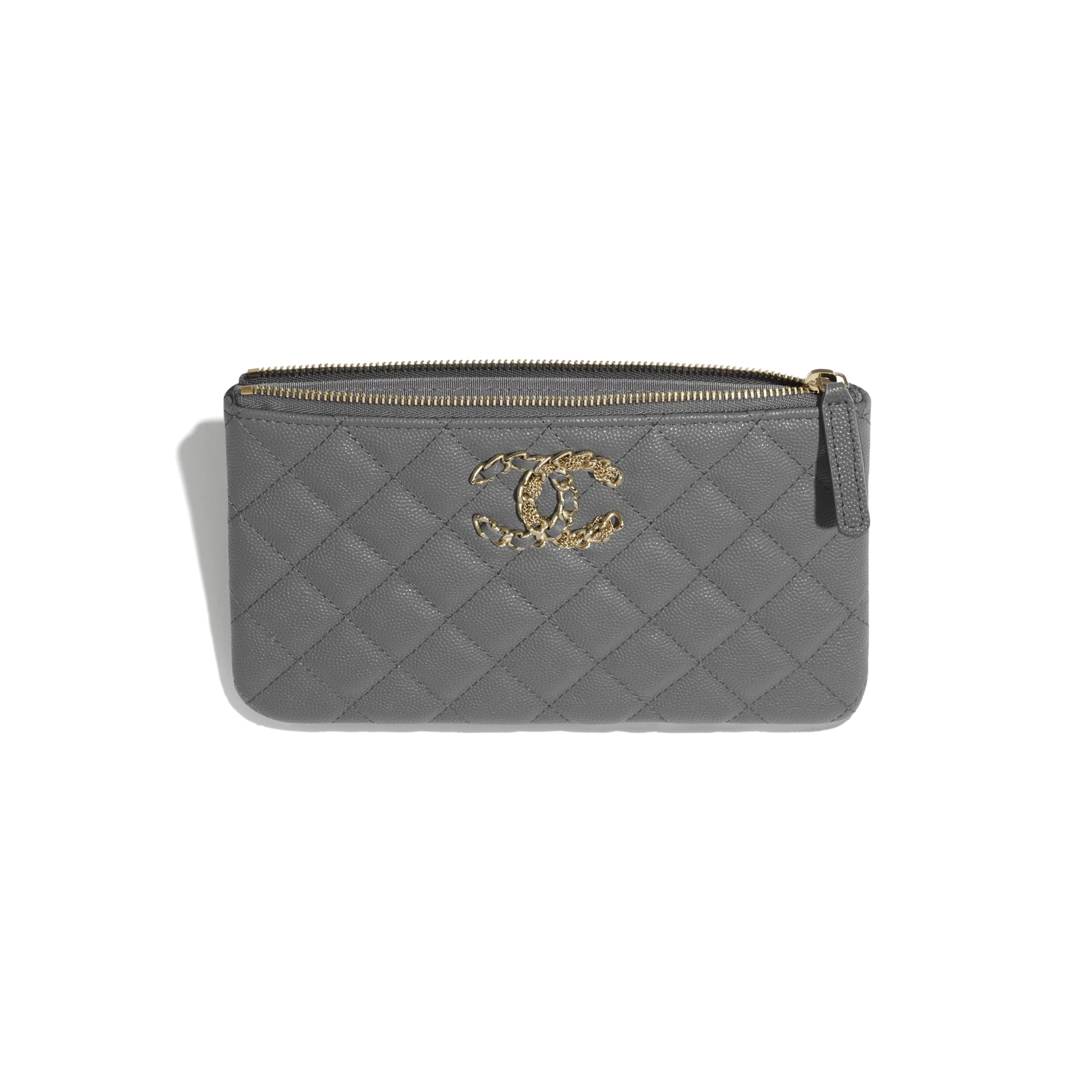 Small Pouch - Grey - Grained Calfskin & Gold-Tone Metal - CHANEL - Other view - see standard sized version