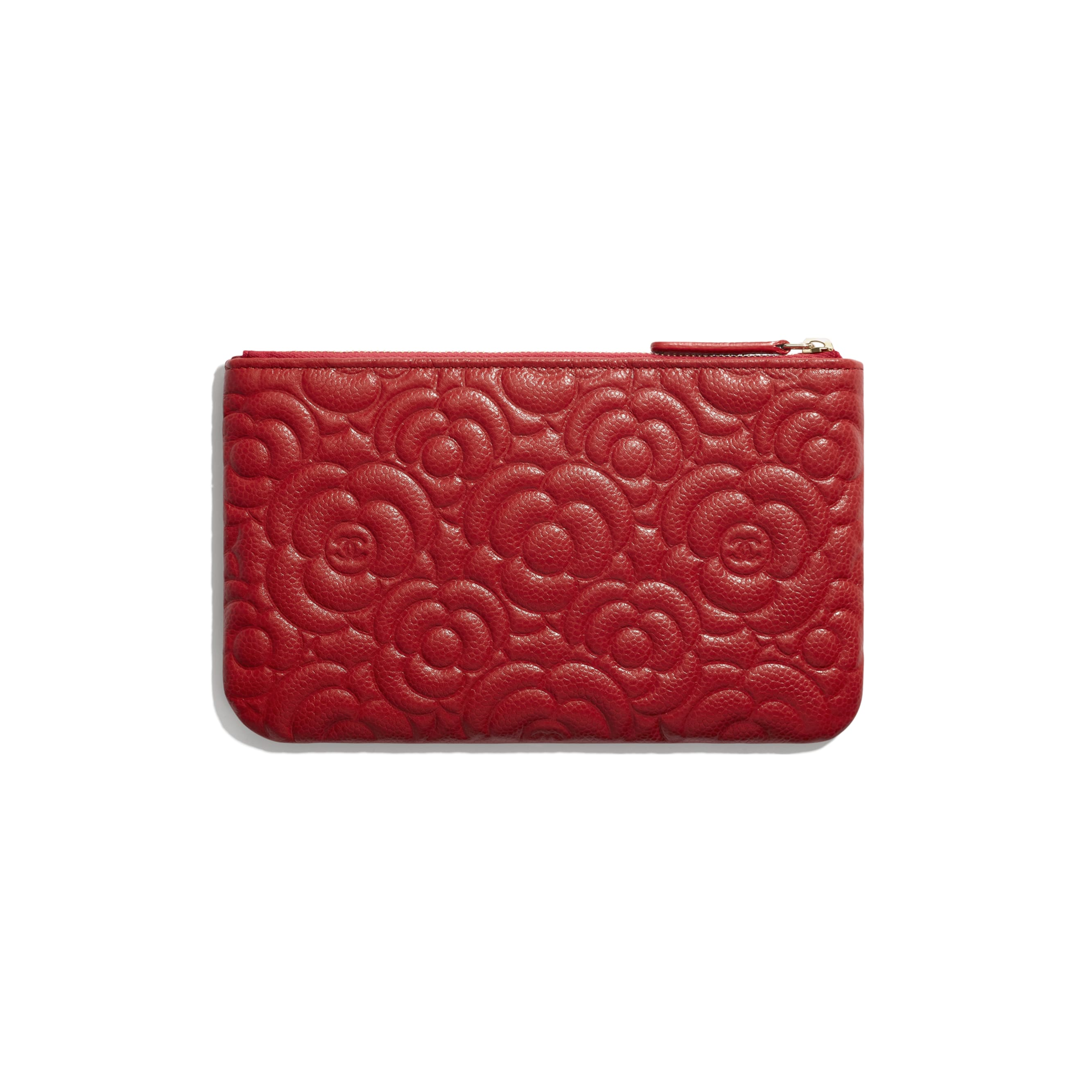 Small Pouch - Red - Grained Shiny Calfskin & Gold-Tone Metal - CHANEL - Alternative view - see standard sized version