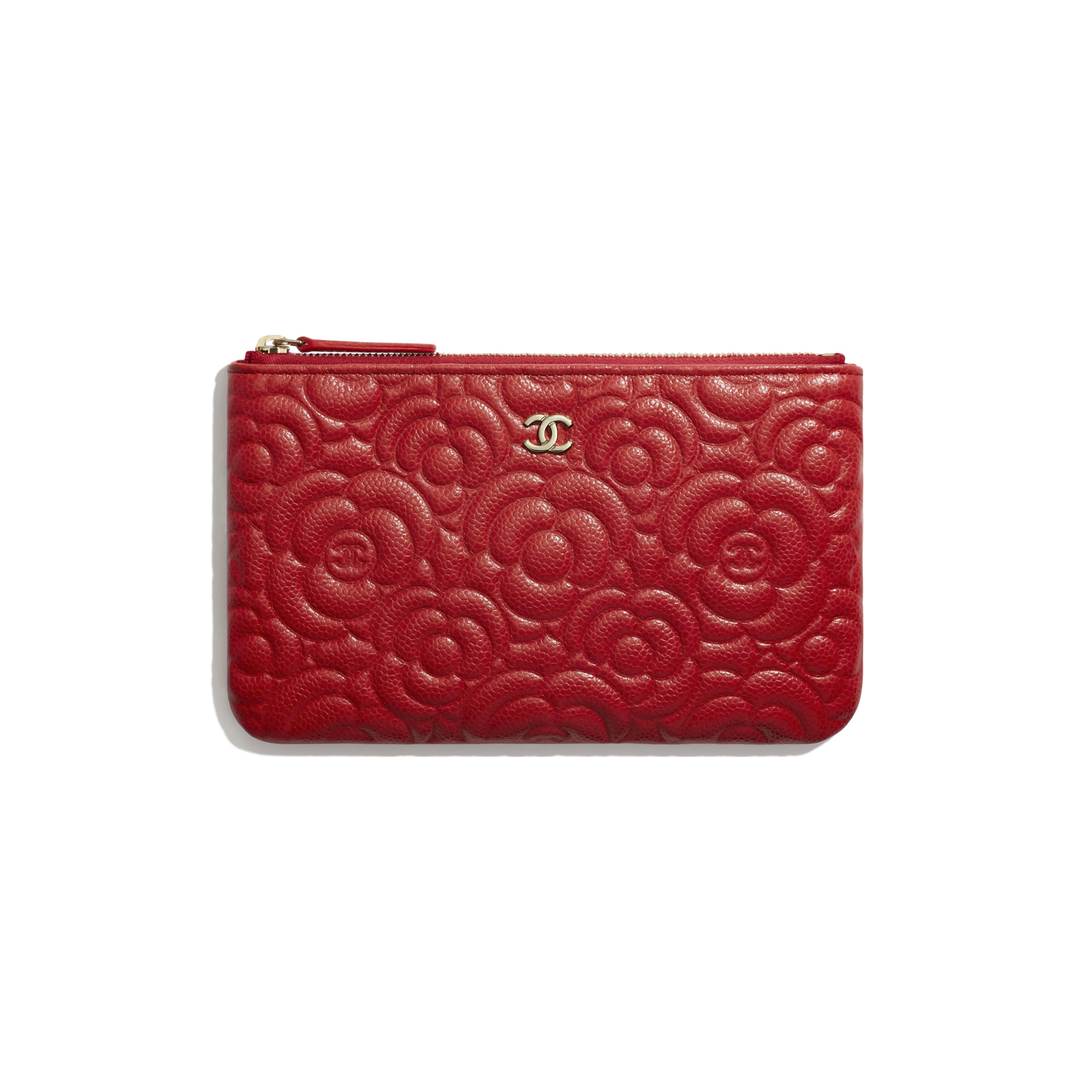Small Pouch - Red - Grained Shiny Calfskin & Gold-Tone Metal - CHANEL - Default view - see standard sized version