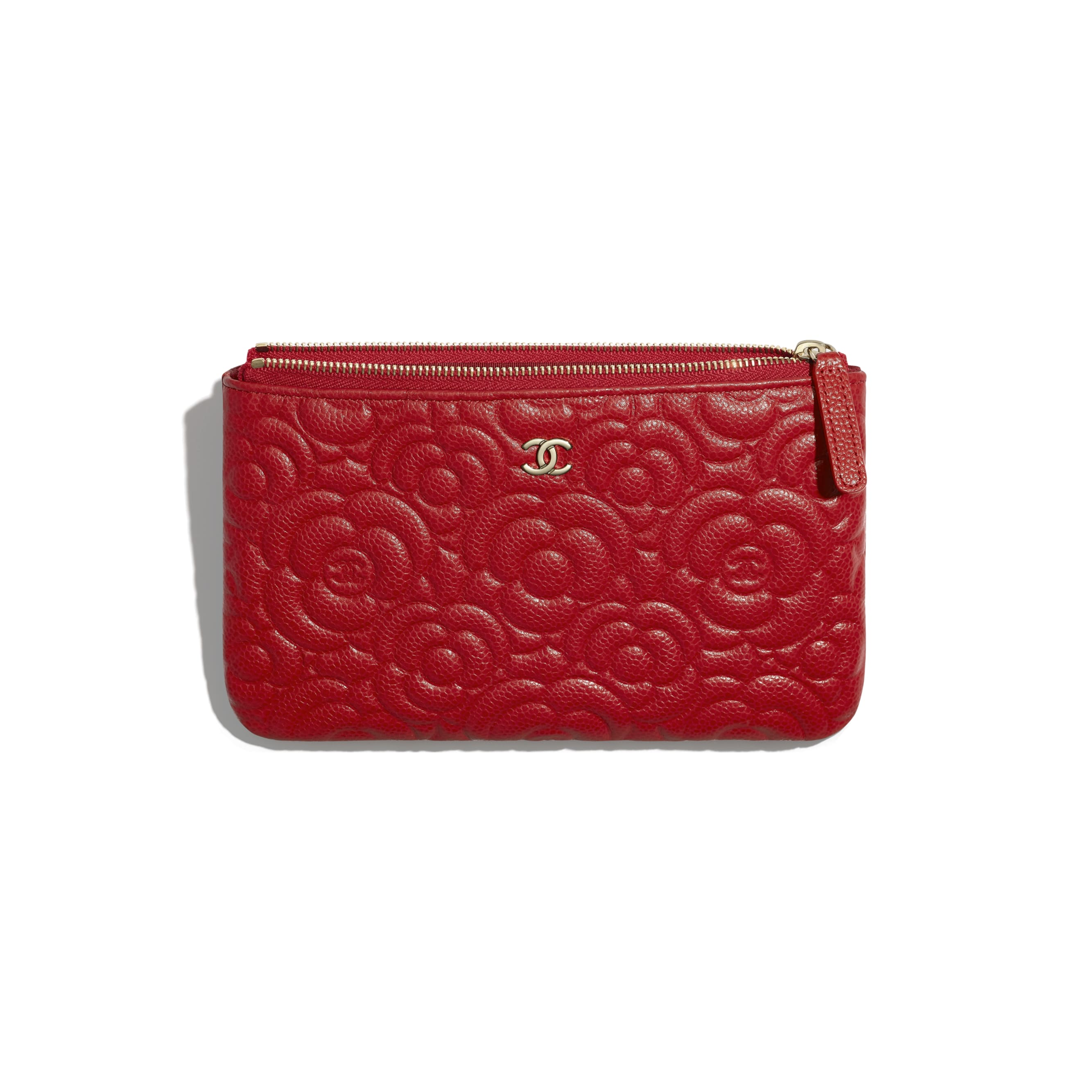 Small Pouch - Red - Grained Shiny Calfskin & Gold-Tone Metal - CHANEL - Other view - see standard sized version