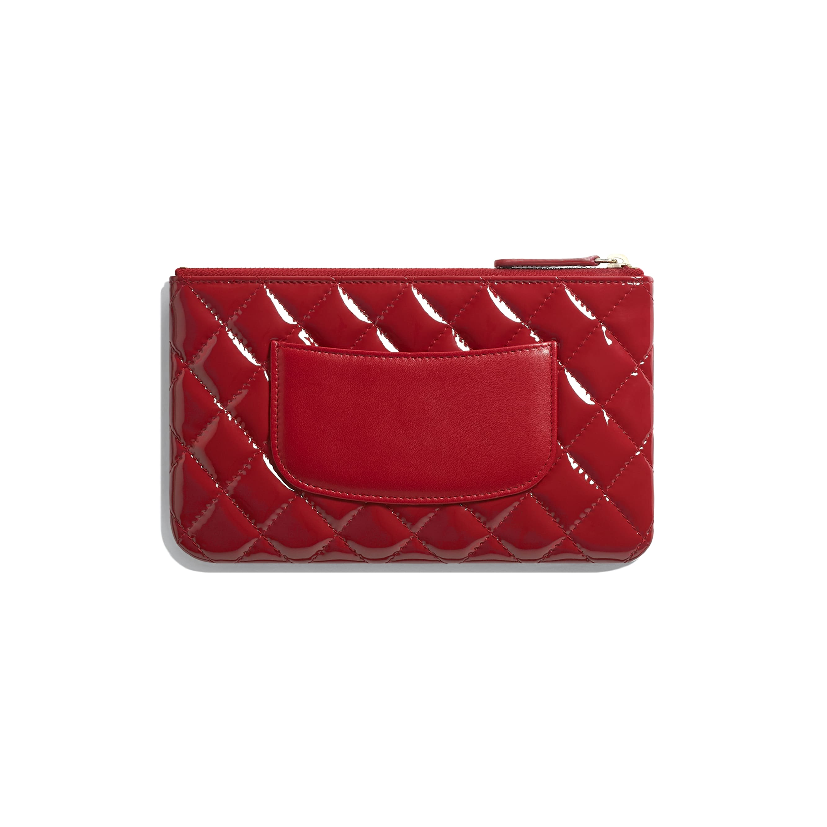 Small Pouch - Red - Patent Calfskin, Lambskin & Gold-Tone Metal - CHANEL - Alternative view - see standard sized version