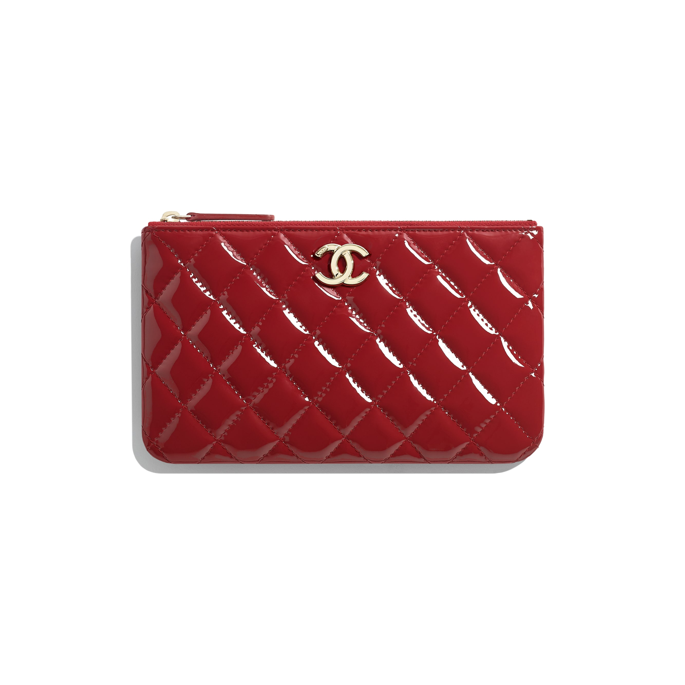 Small Pouch - Red - Patent Calfskin, Lambskin & Gold-Tone Metal - CHANEL - Default view - see standard sized version