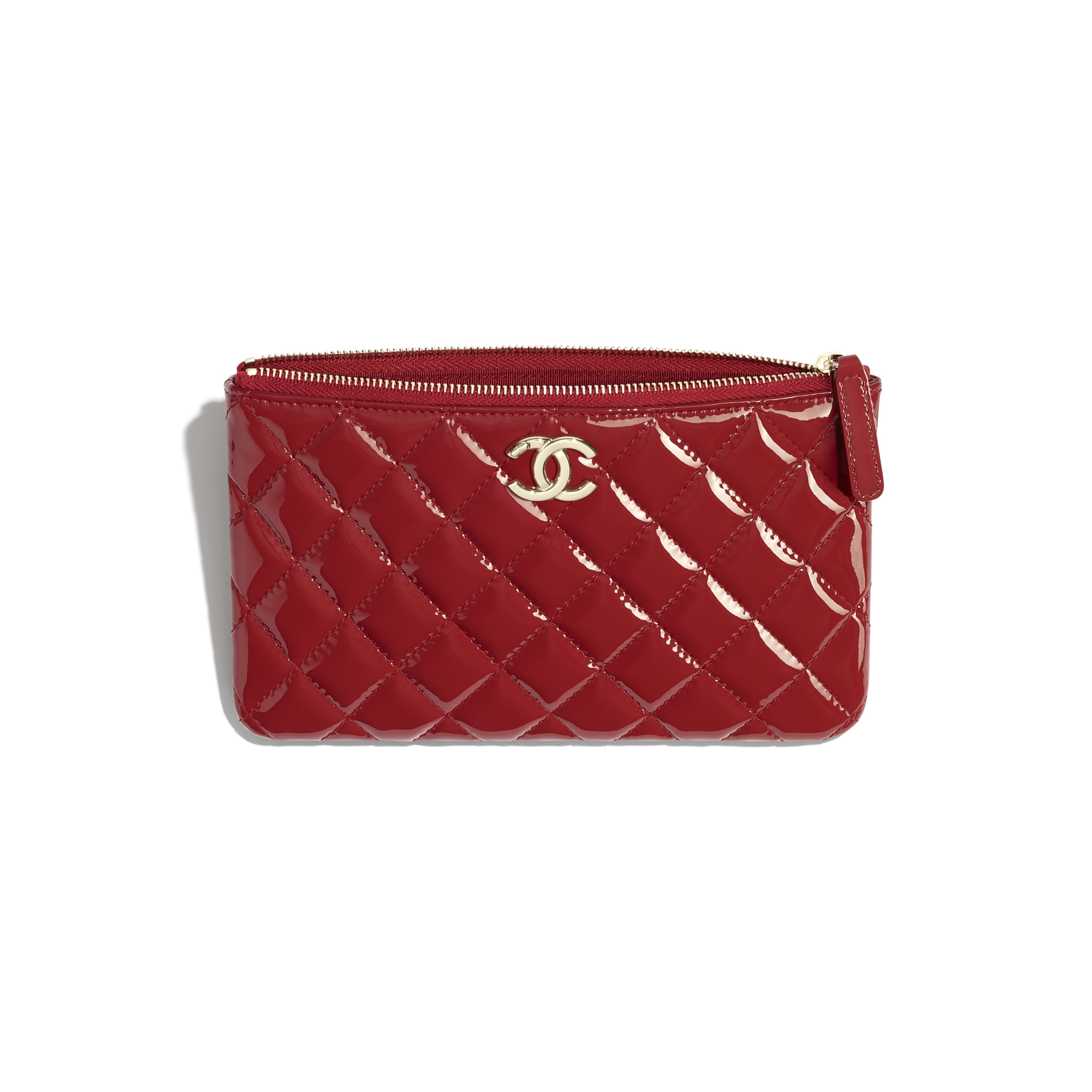 Small Pouch - Red - Patent Calfskin, Lambskin & Gold-Tone Metal - CHANEL - Other view - see standard sized version