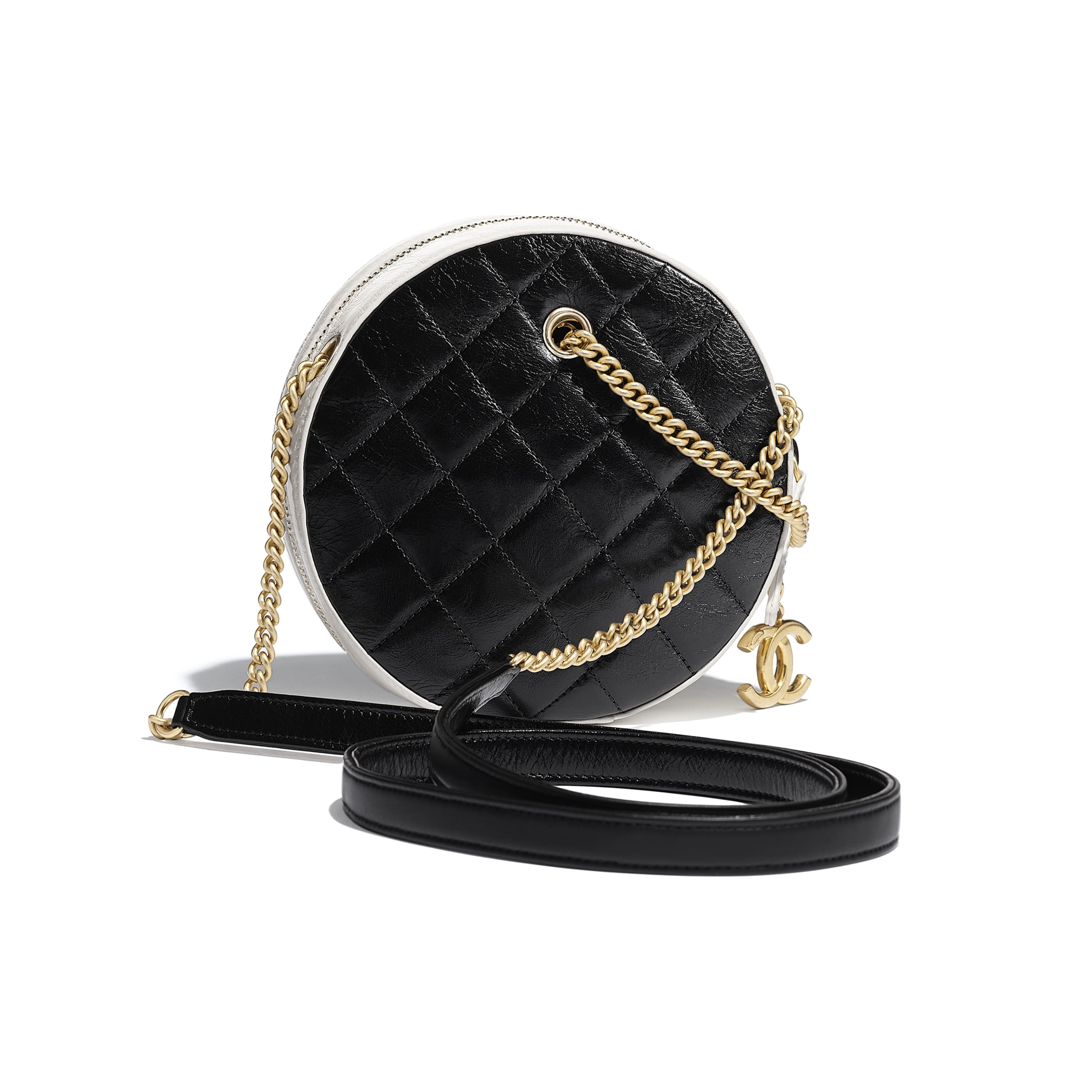 525d082e8082 ... Small Round Bag - Black   White - Crumpled Calfskin