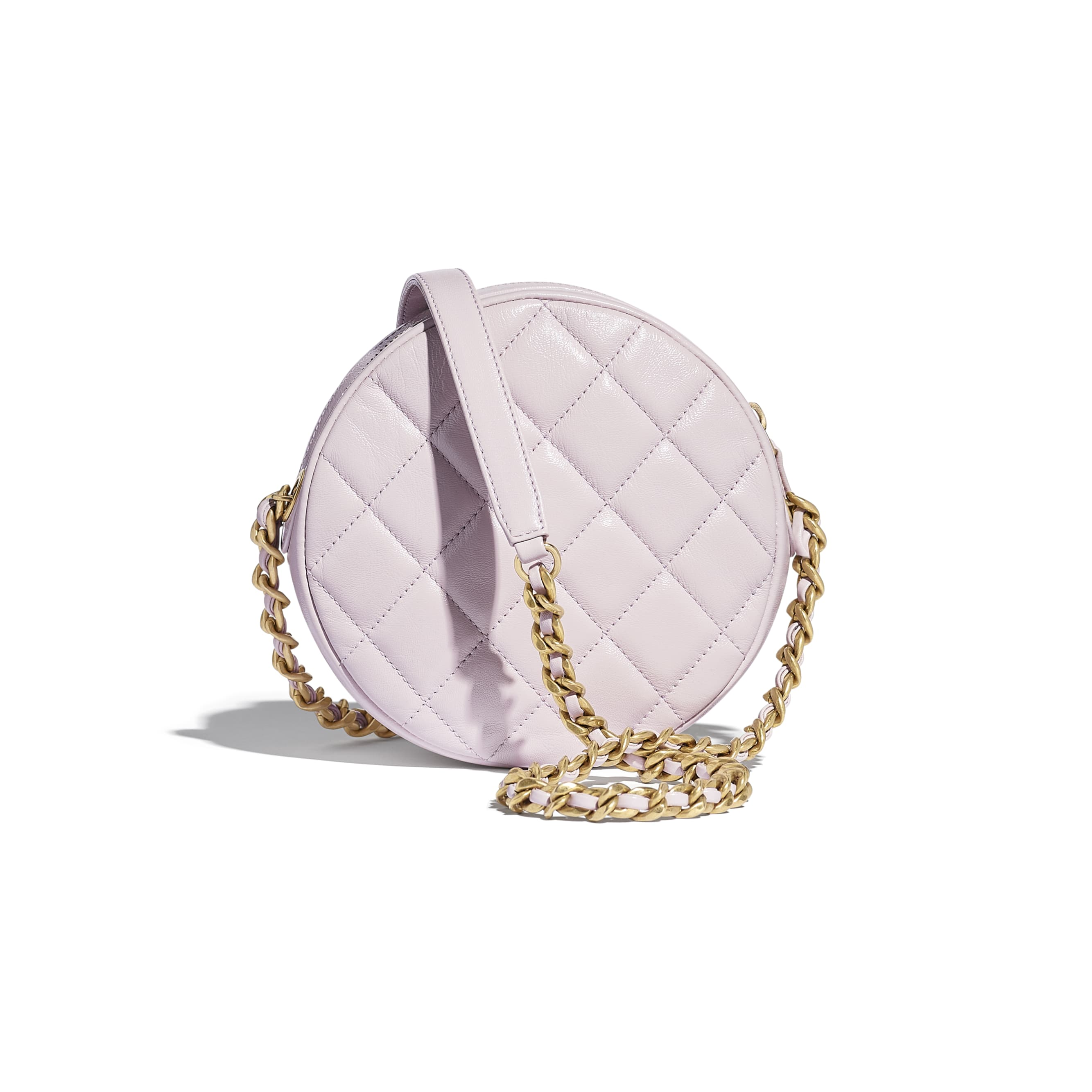 Small Round Bag - Lilac - Shiny Lambskin & Gold-Tone Metal - CHANEL - Alternative view - see standard sized version