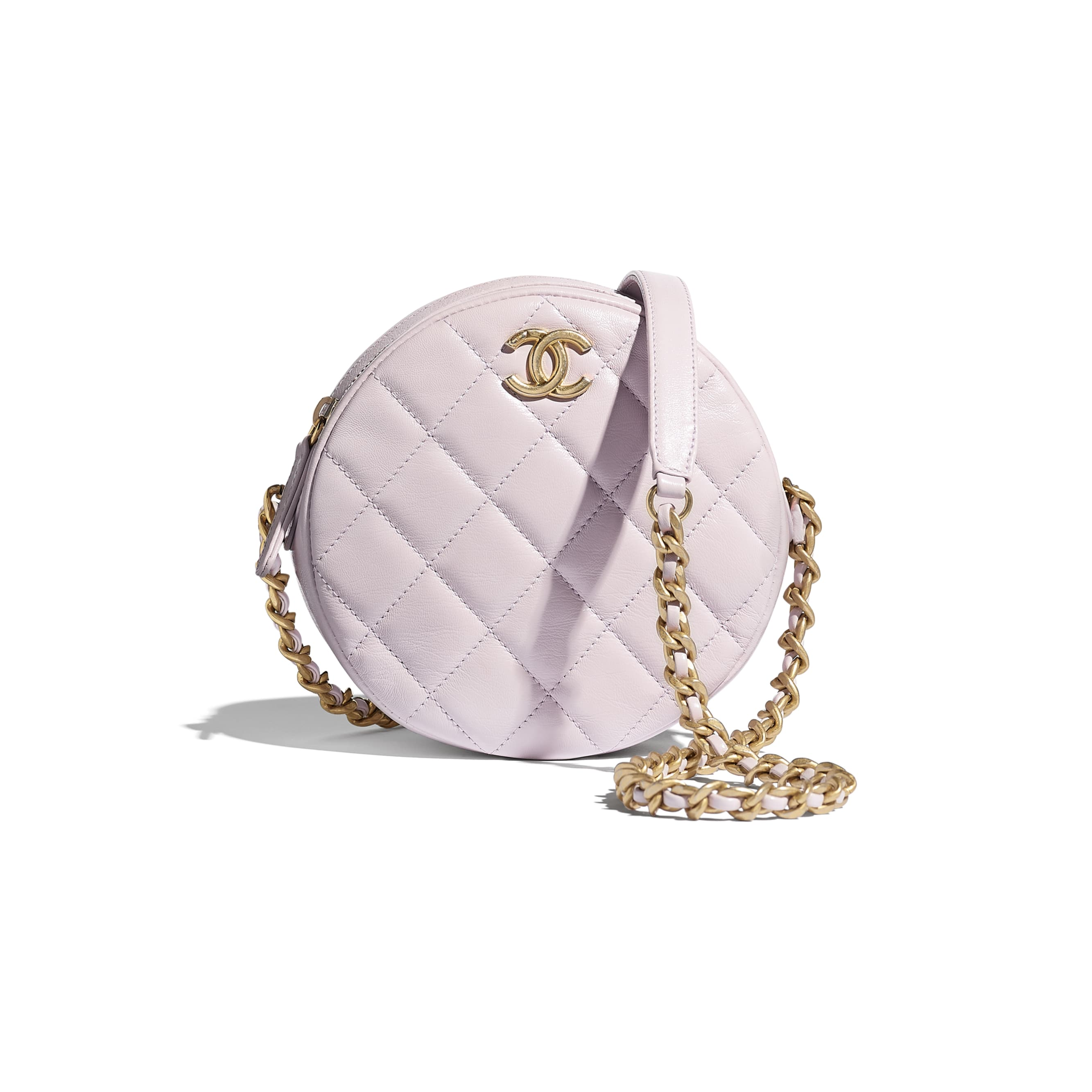 Small Round Bag - Lilac - Shiny Lambskin & Gold-Tone Metal - CHANEL - Default view - see standard sized version