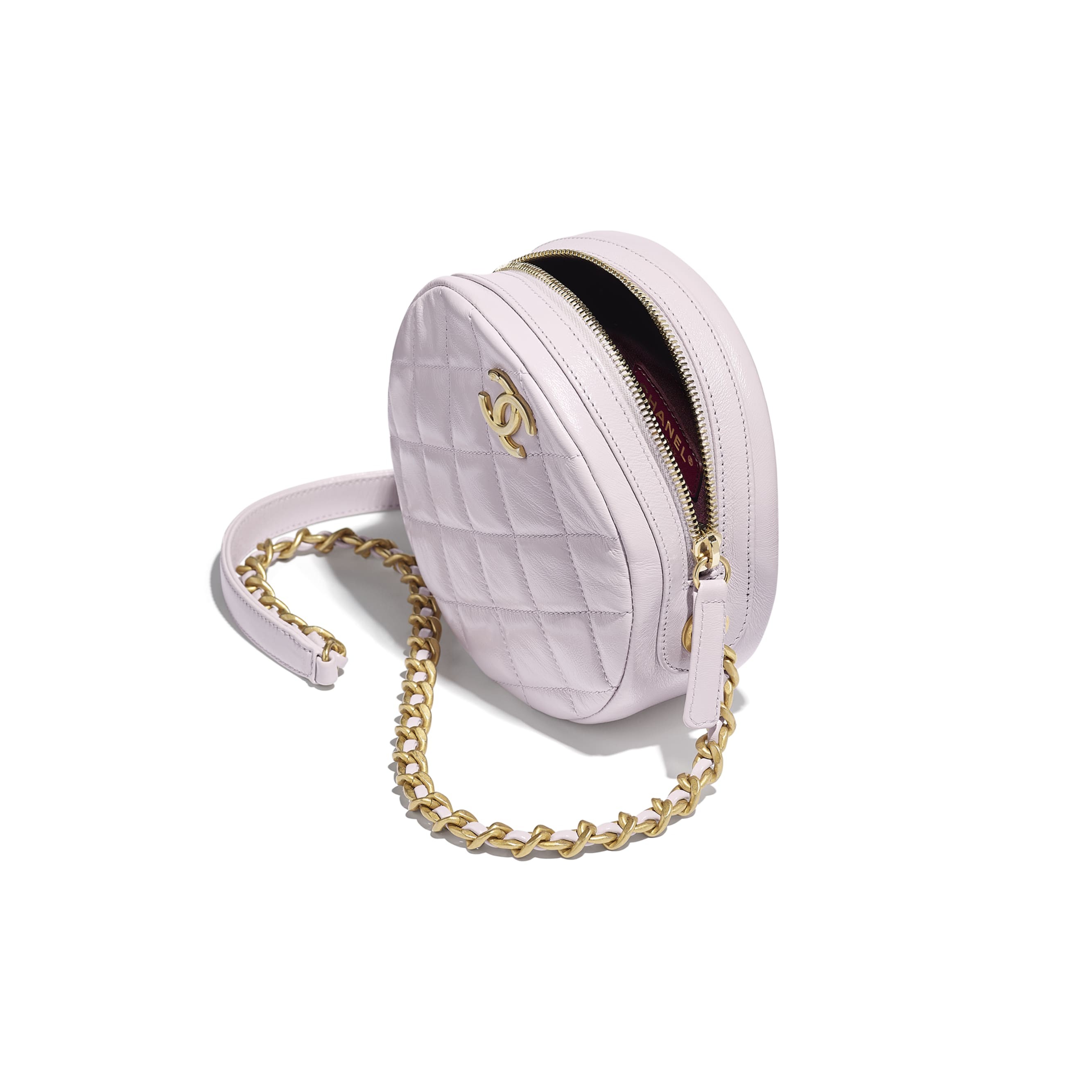 Small Round Bag - Lilac - Shiny Lambskin & Gold-Tone Metal - CHANEL - Other view - see standard sized version
