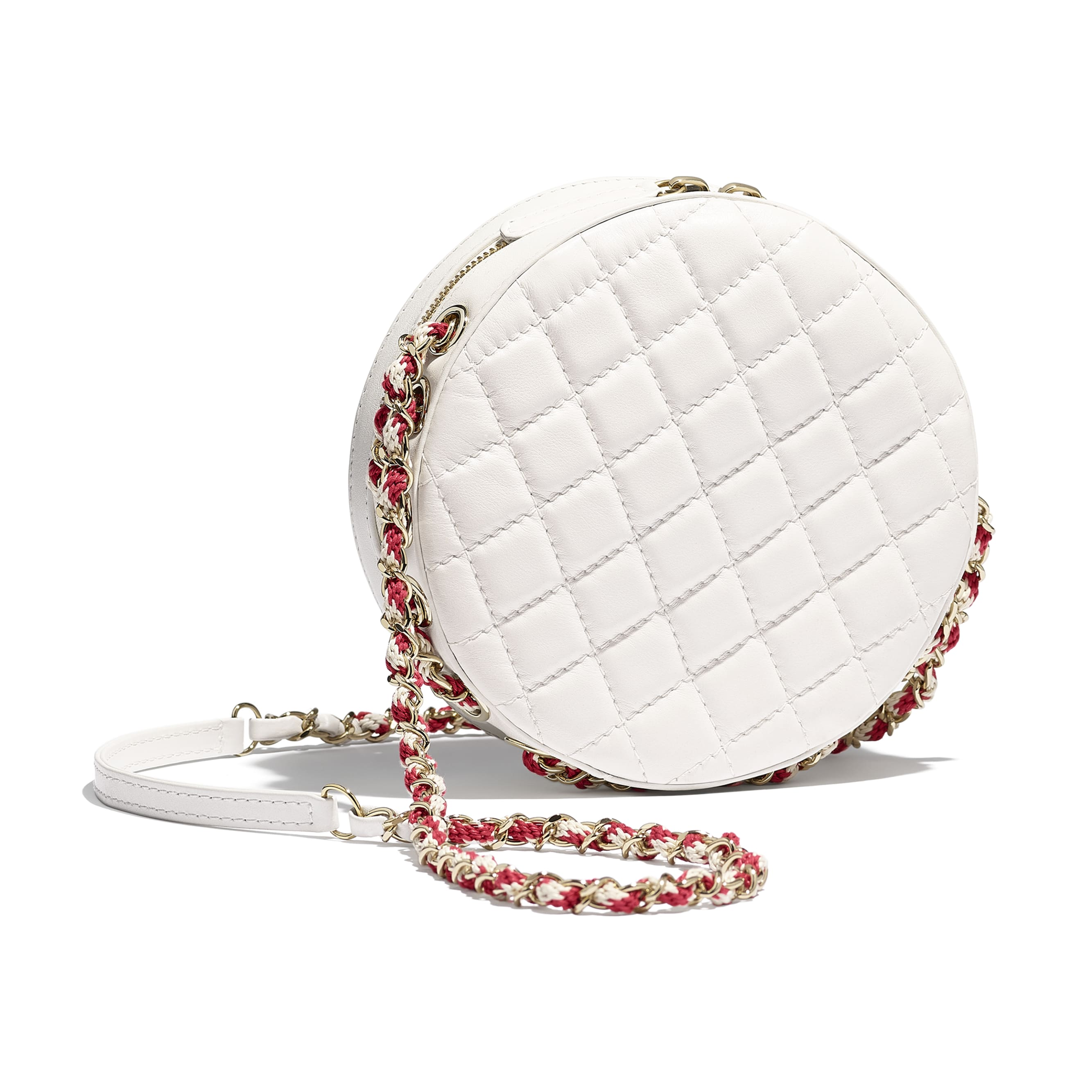 Small Round Bag - Red & White - Lambskin & Gold-Tone Metal - Alternative view - see standard sized version