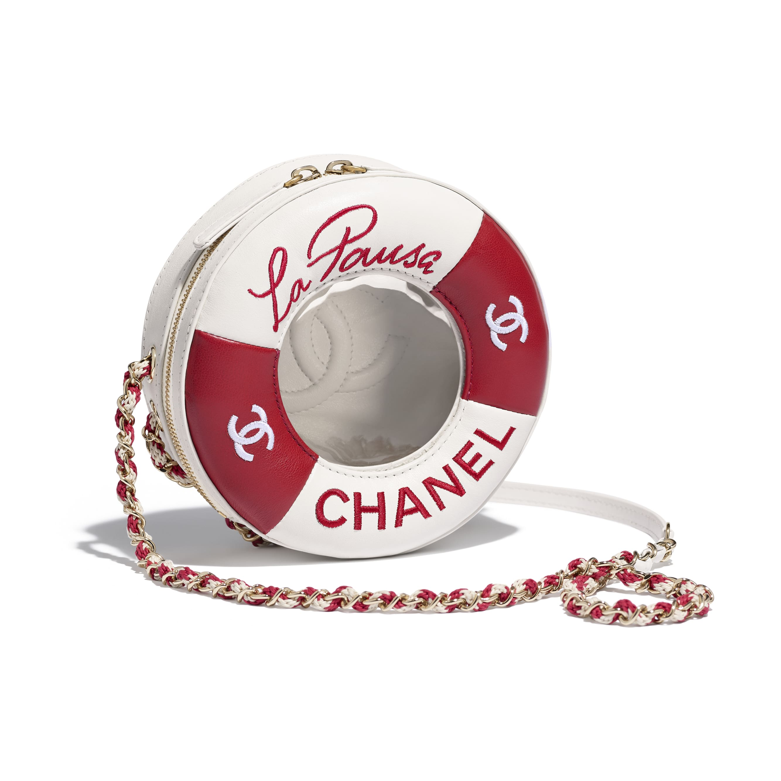 Small Round Bag - Red & White - Lambskin & Gold-Tone Metal - Default view - see standard sized version
