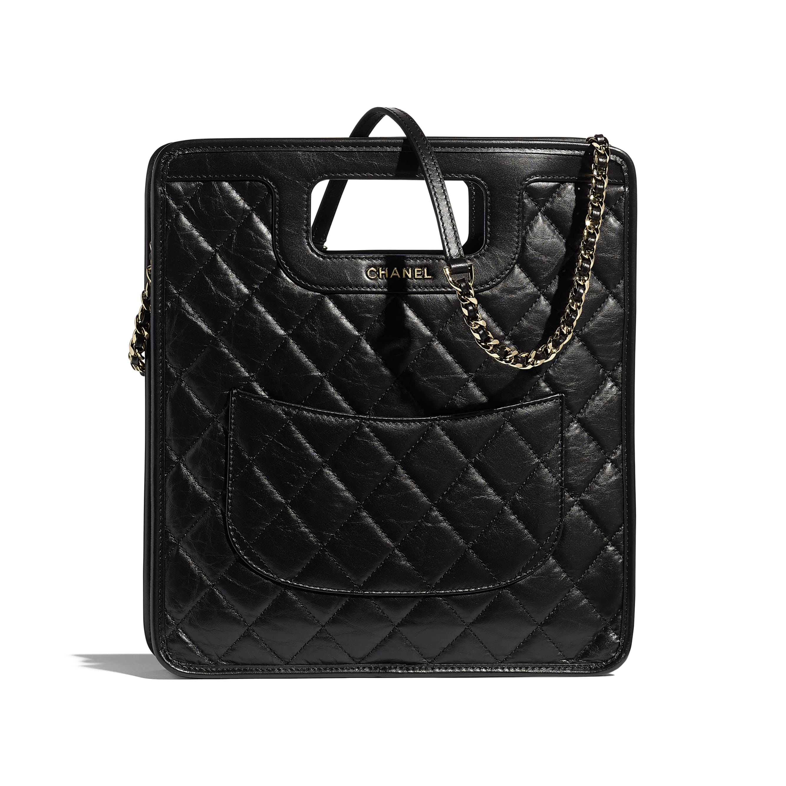 Small Tote - Black - Aged Calfskin, Charms & Gold Metal - CHANEL - Alternative view - see standard sized version