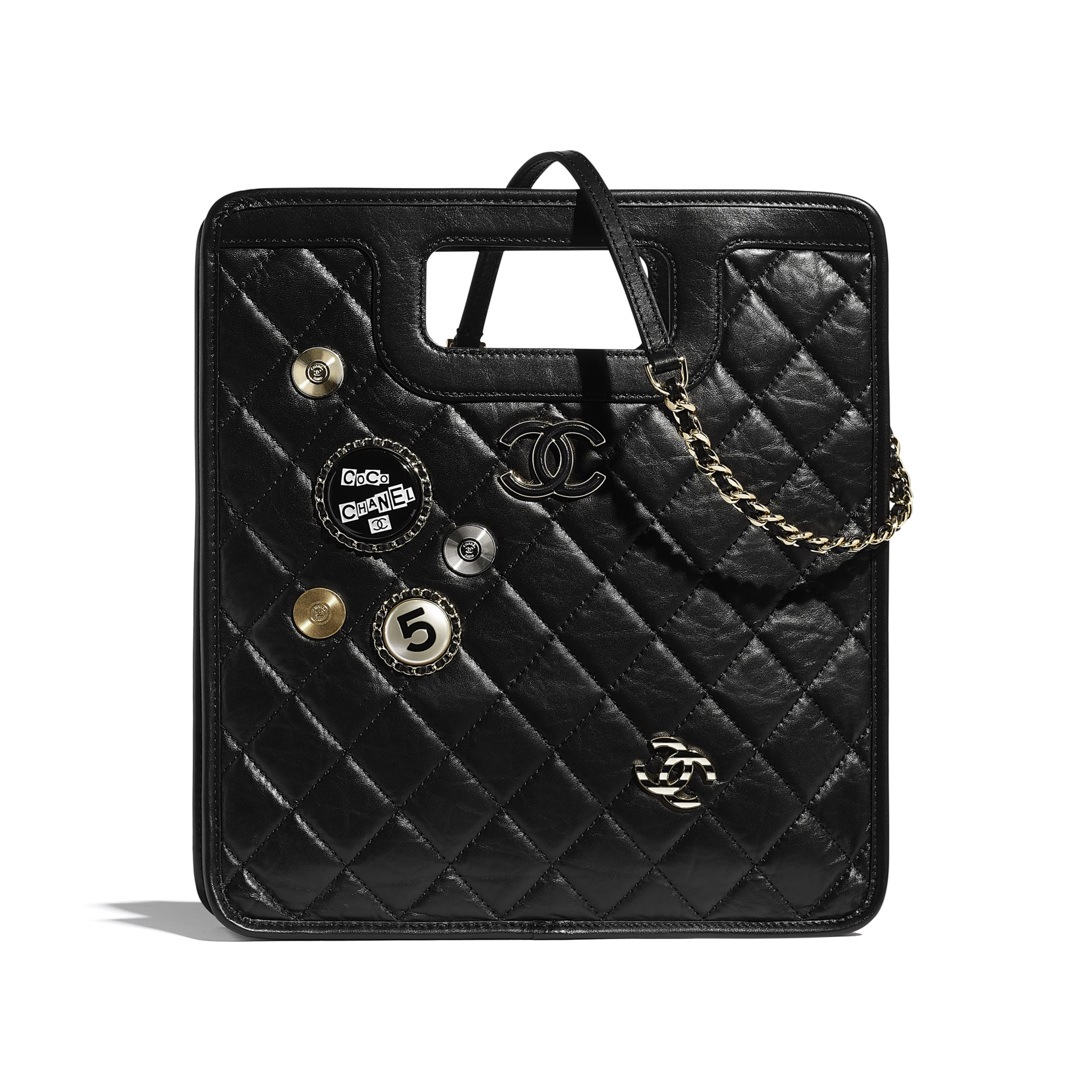 Small Tote - Black - Aged Calfskin, Charms & Gold Metal - CHANEL - Default view - see standard sized version