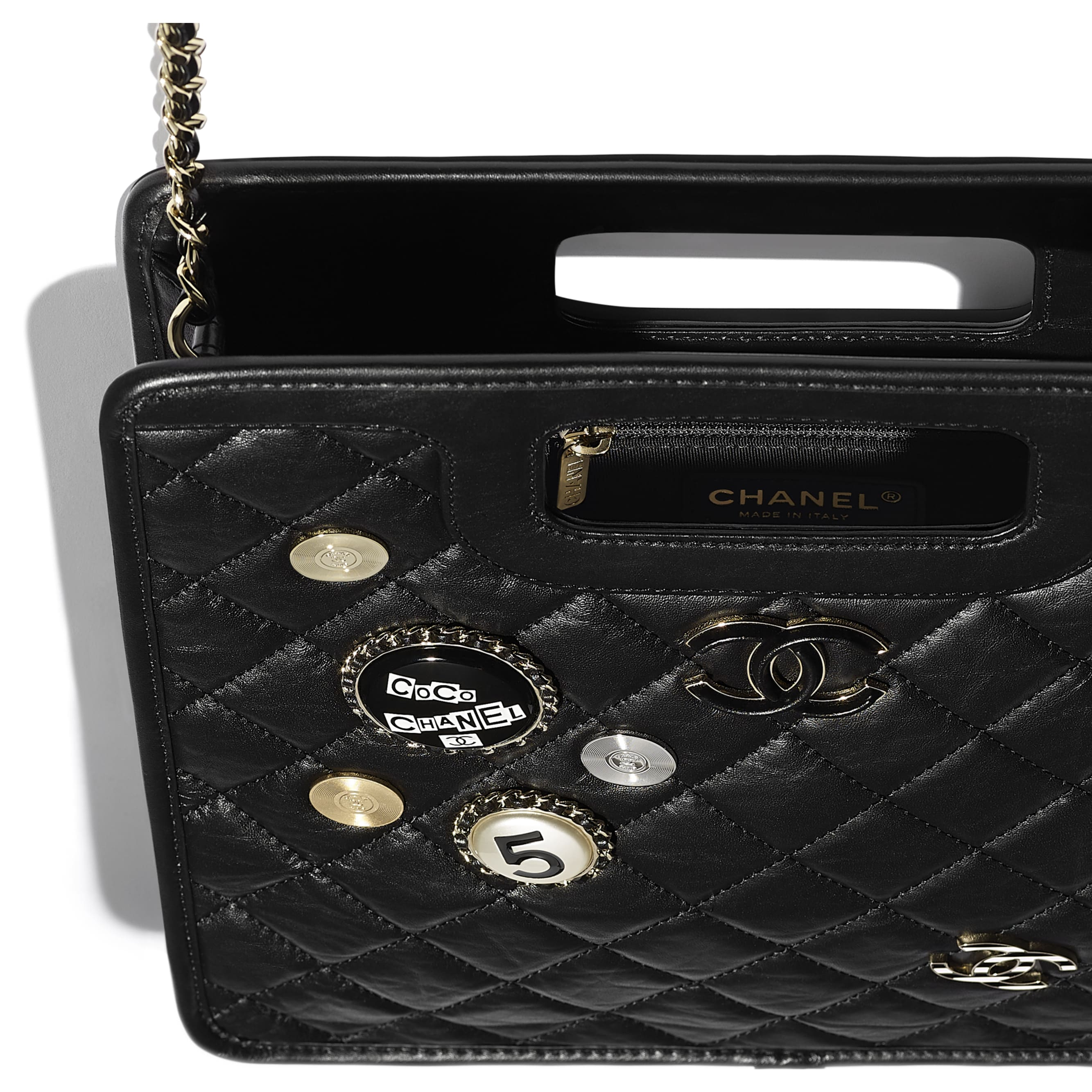 Small Tote - Black - Aged Calfskin, Charms & Gold Metal - CHANEL - Extra view - see standard sized version