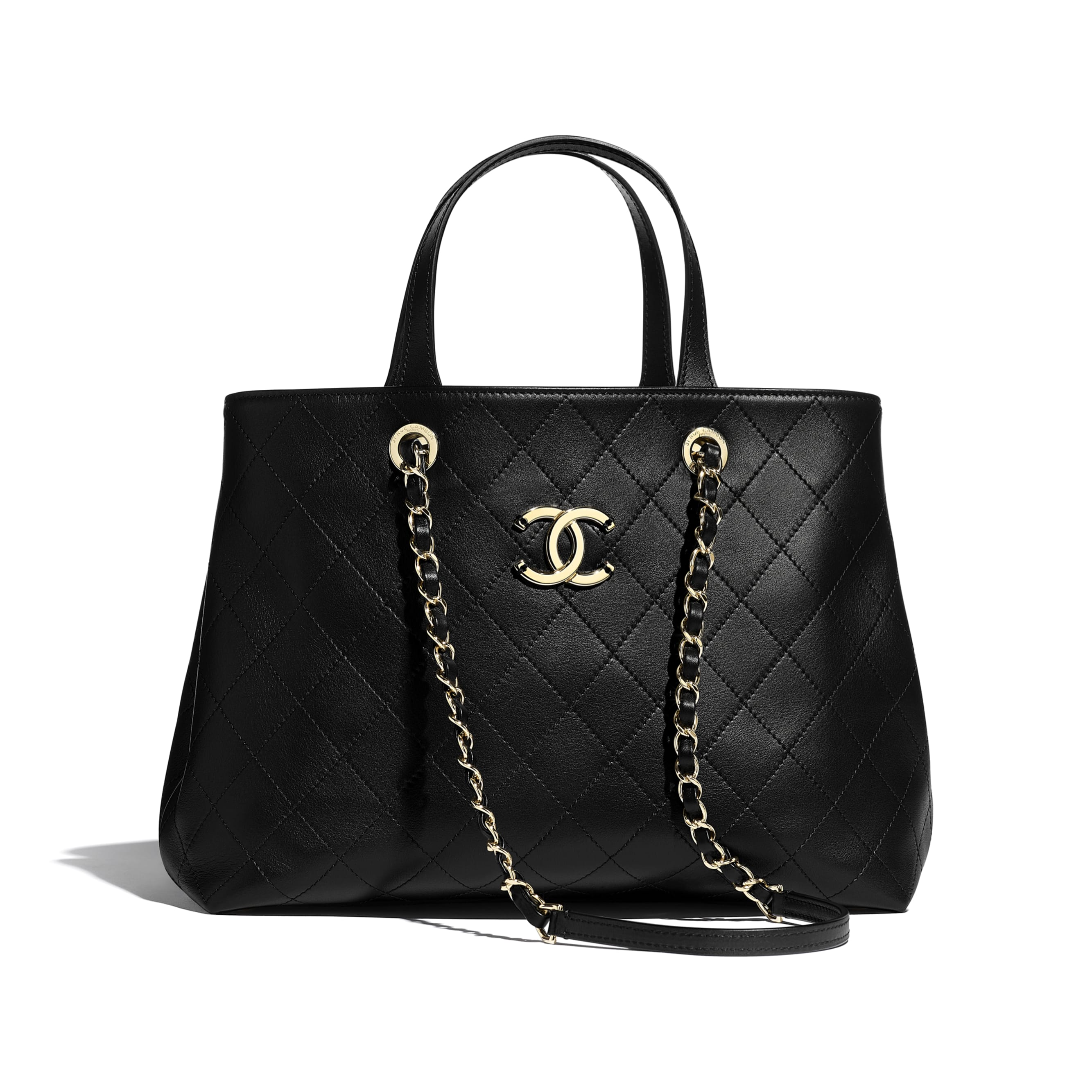 Small Shopping Bag - Black - Calfskin & Gold-Tone Metal - CHANEL - Default view - see standard sized version
